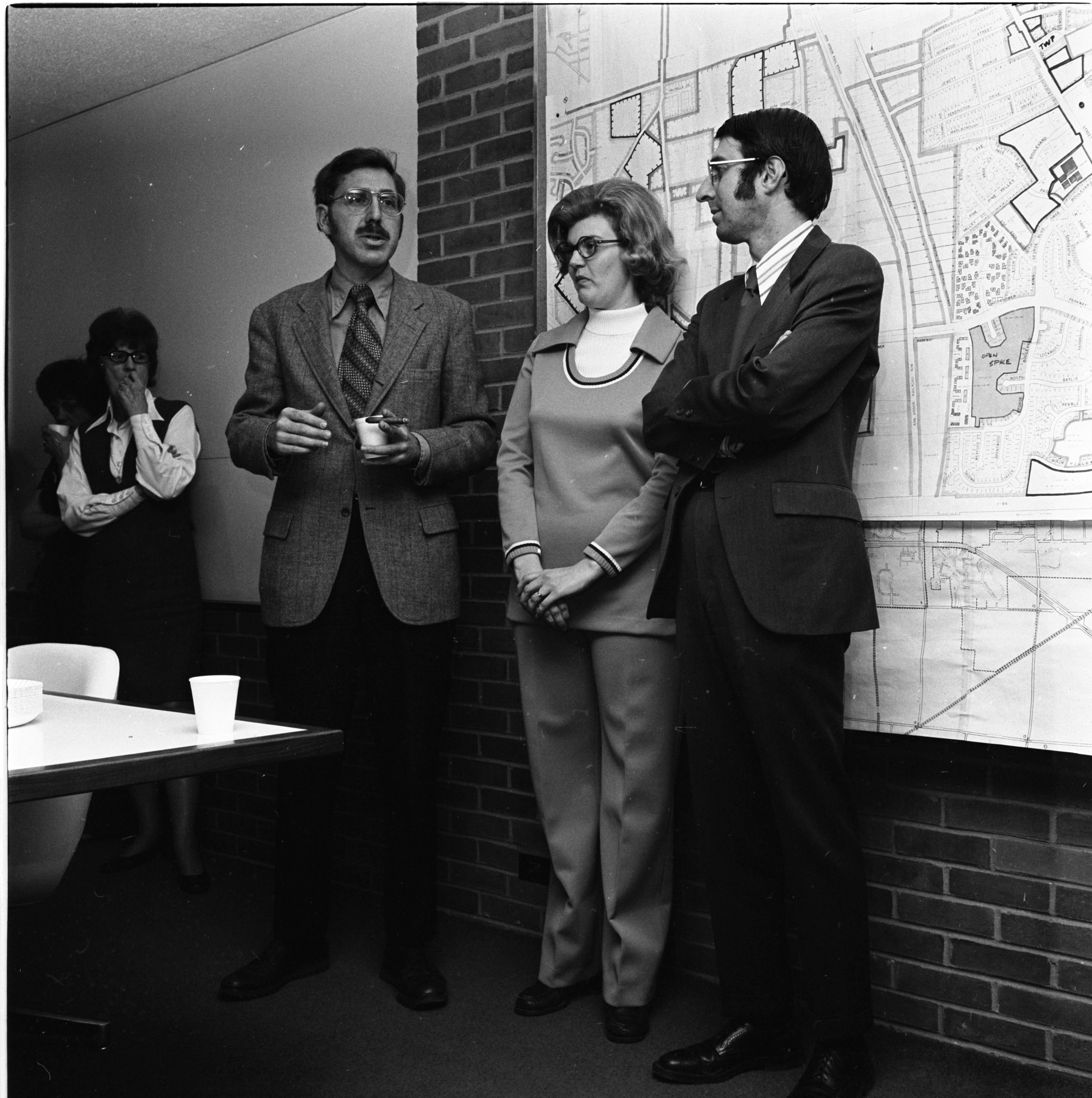Former Mayor Robert Harris With City Clerk Harold Saunders And Wife At Saunders' Farewell Open House, April 1973 image