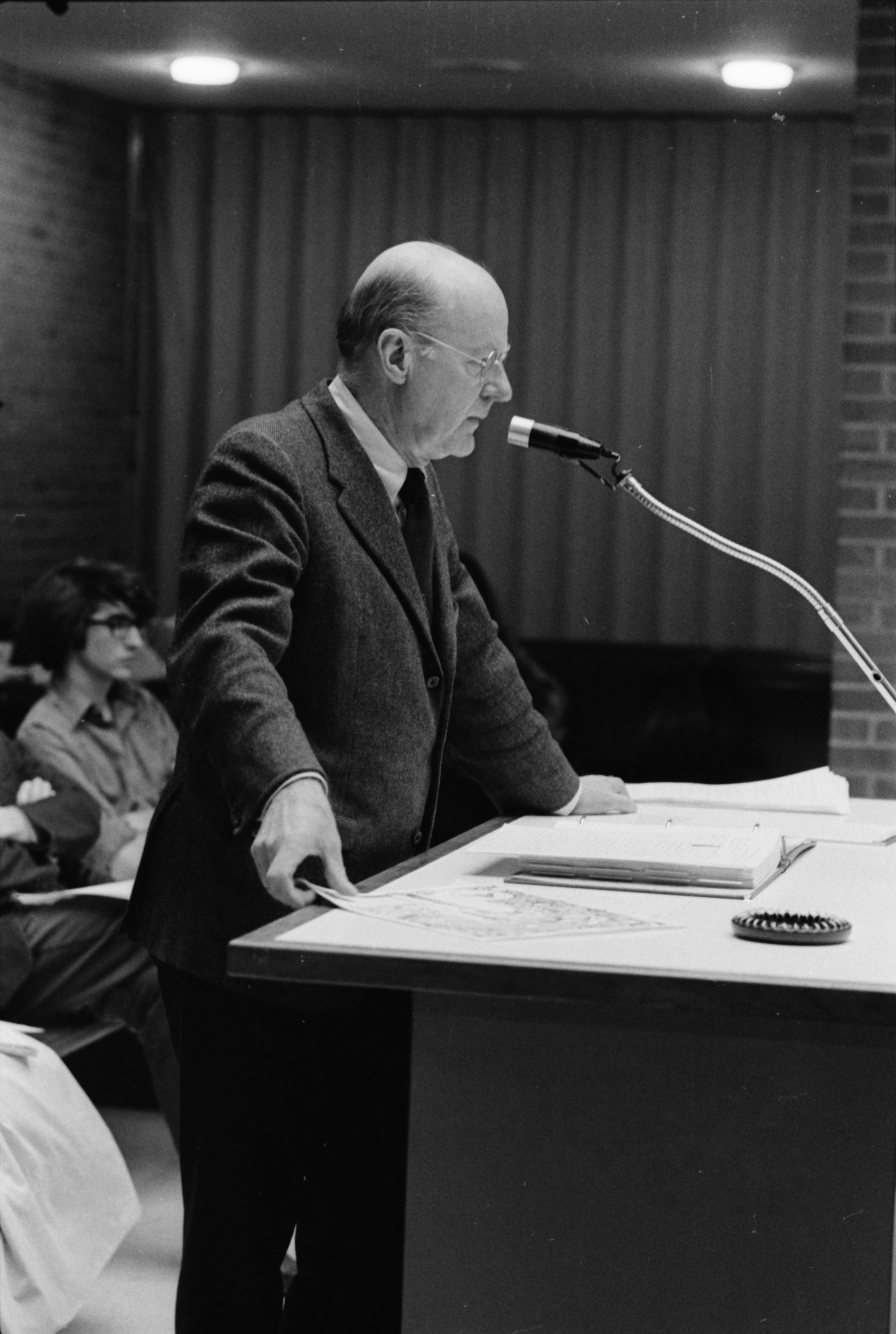 Sesquicentennial Chairman Douglas Crary, at City Council meeting where Sesquicentennial is Proclaimed, January 7, 1974 image