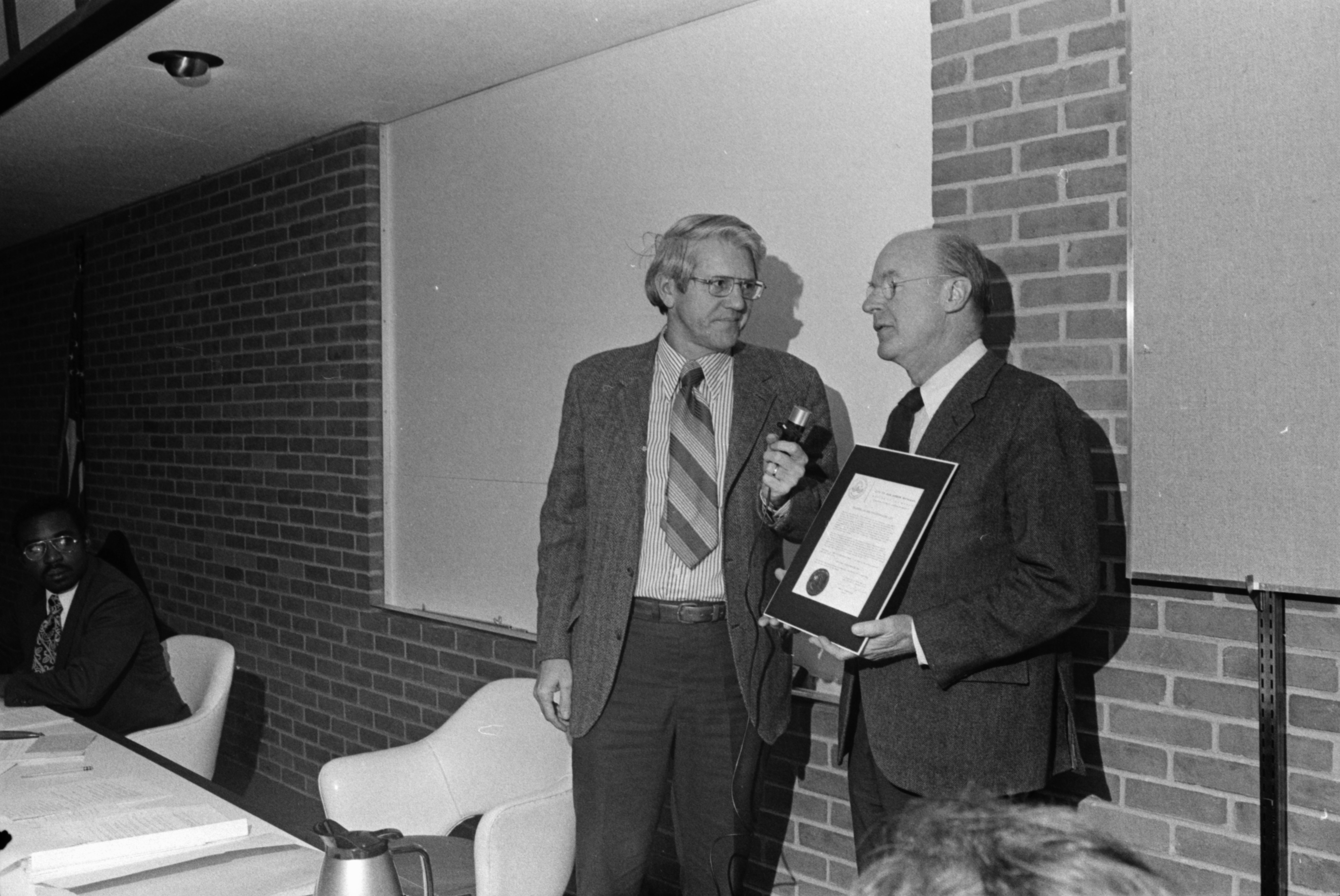 Sesquicentennial Chairman Douglas Crary, at City Council with Sesquicentennial proclamation, January 7, 1974 image