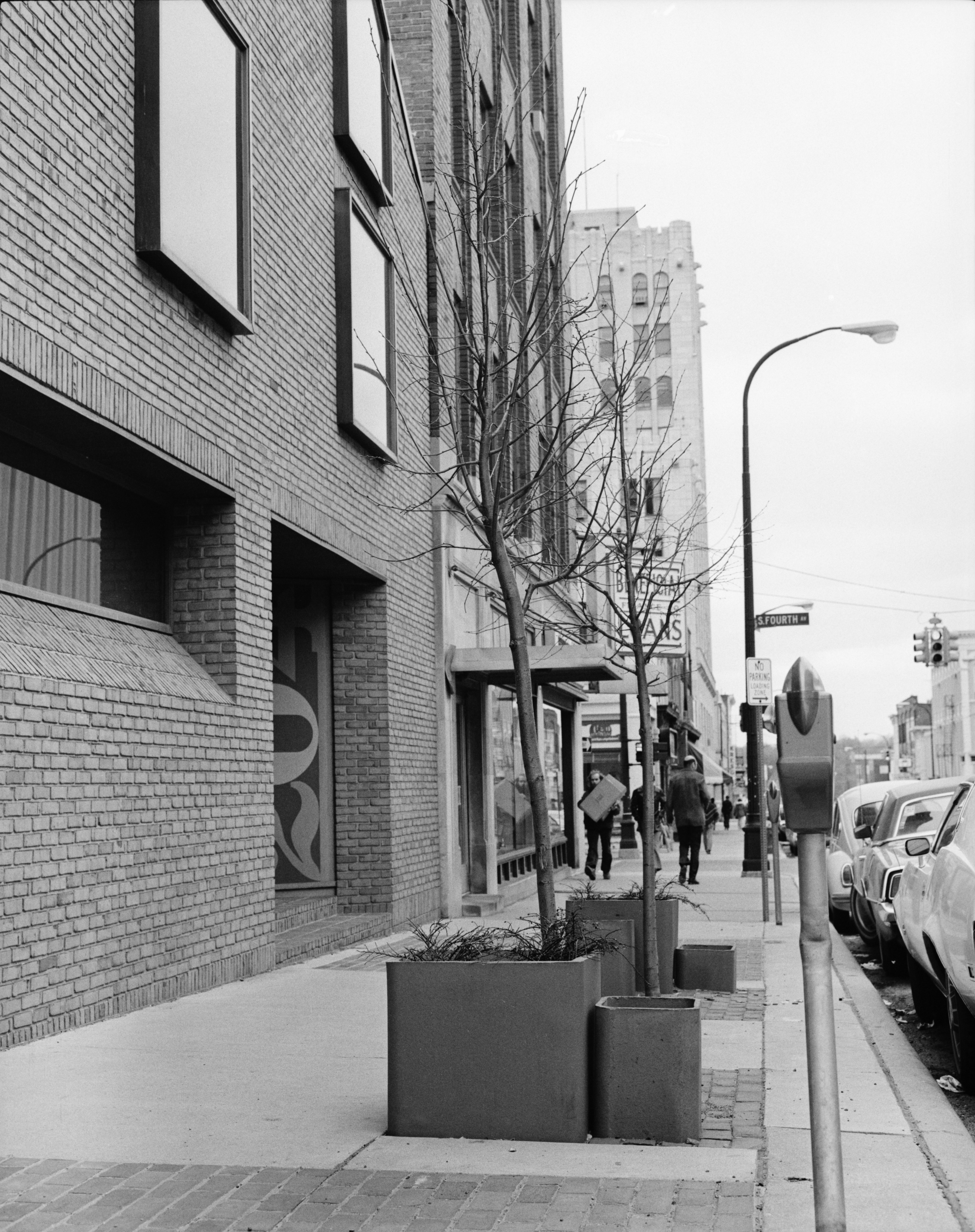 Hobbs & Black, Architects, with sculpture-landscaping outside offices at 204 E. Washington, April 1974 image