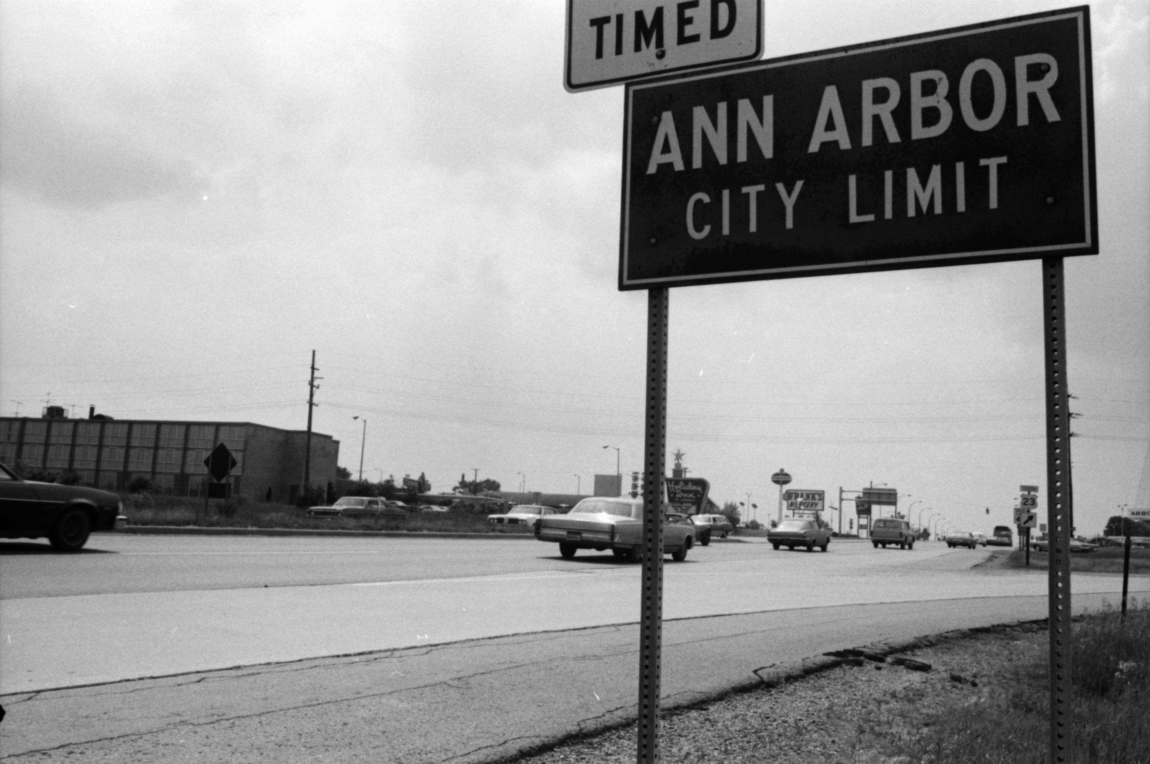 Ann Arbor City Limits Sign on Washtenaw Ave, June 1974 image