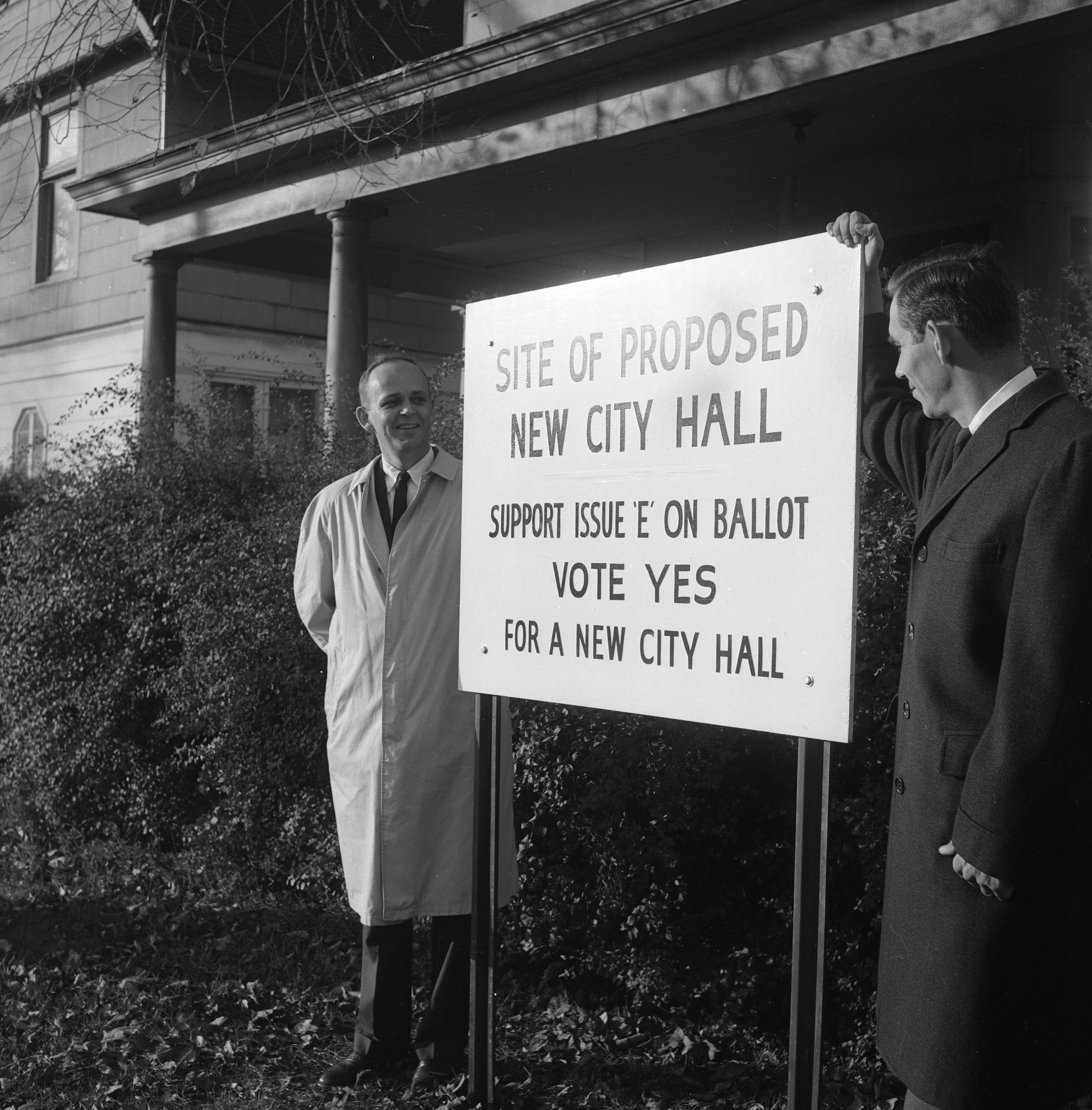 Ballot Proposal Sign Promotes New City Hall, October 1960 image