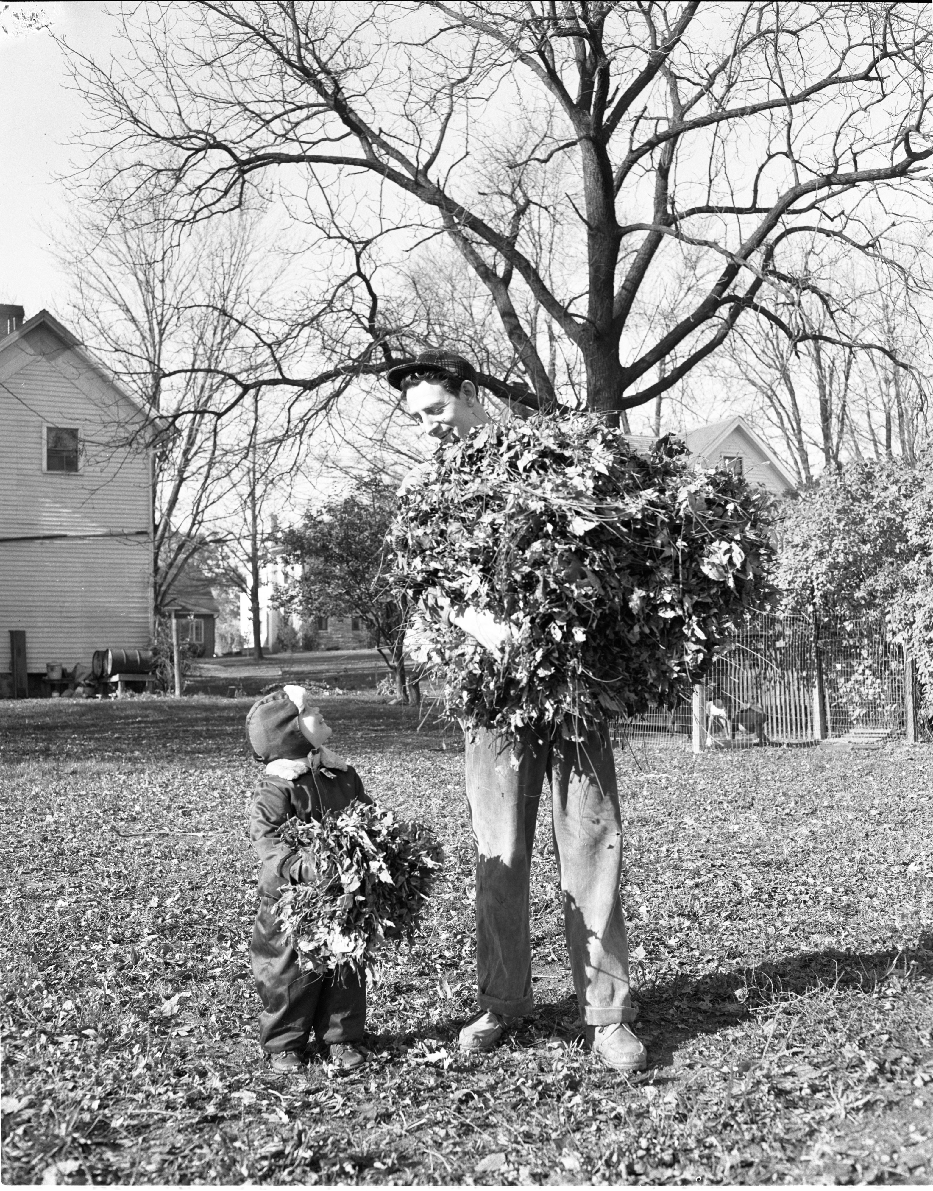 William & Bradford Brackney Gather Leaves, November 1954 image