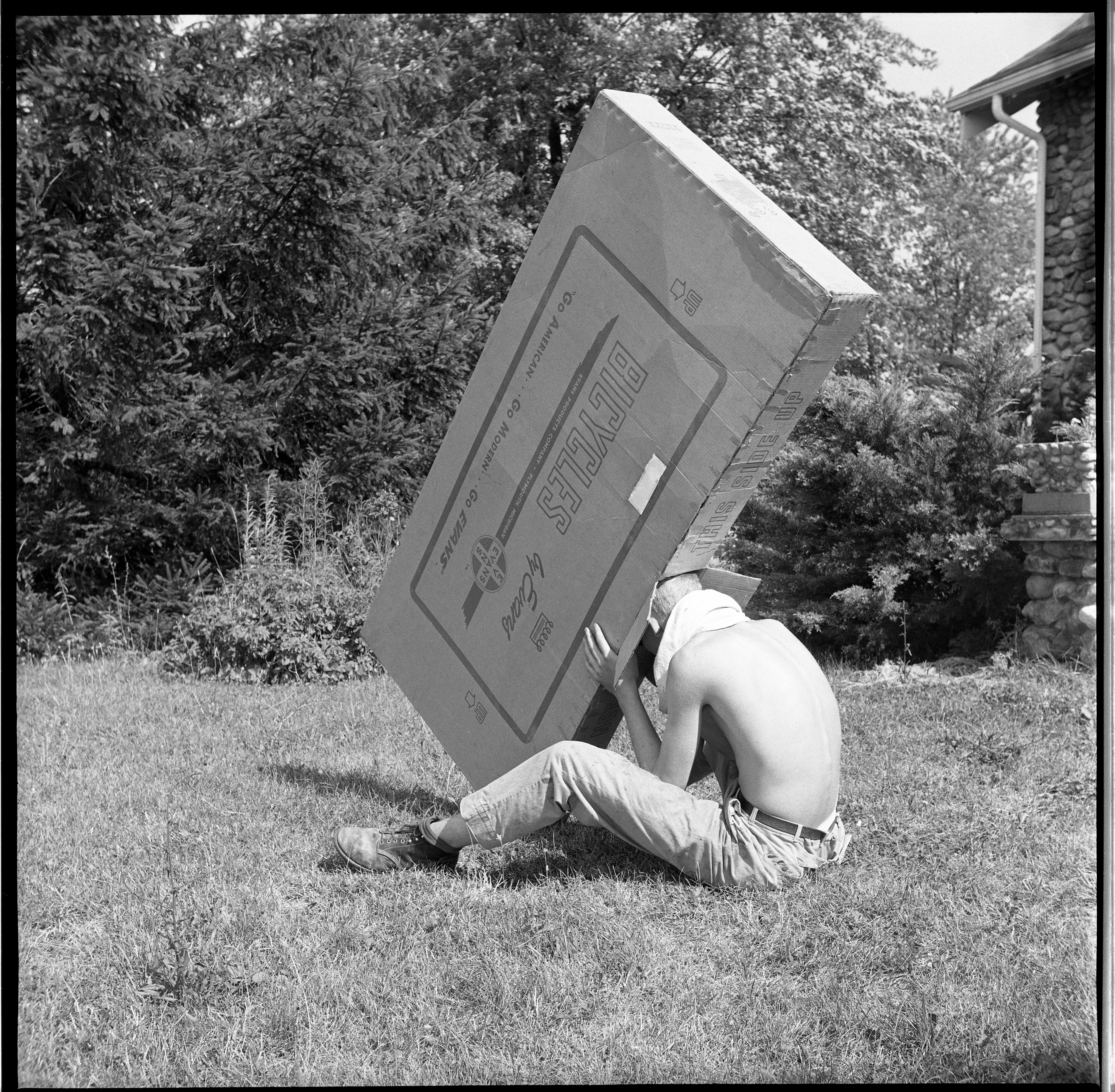 Jim Haven Uses A Pin Hole Box To Observe Solar Eclipse, July 22, 1963 image