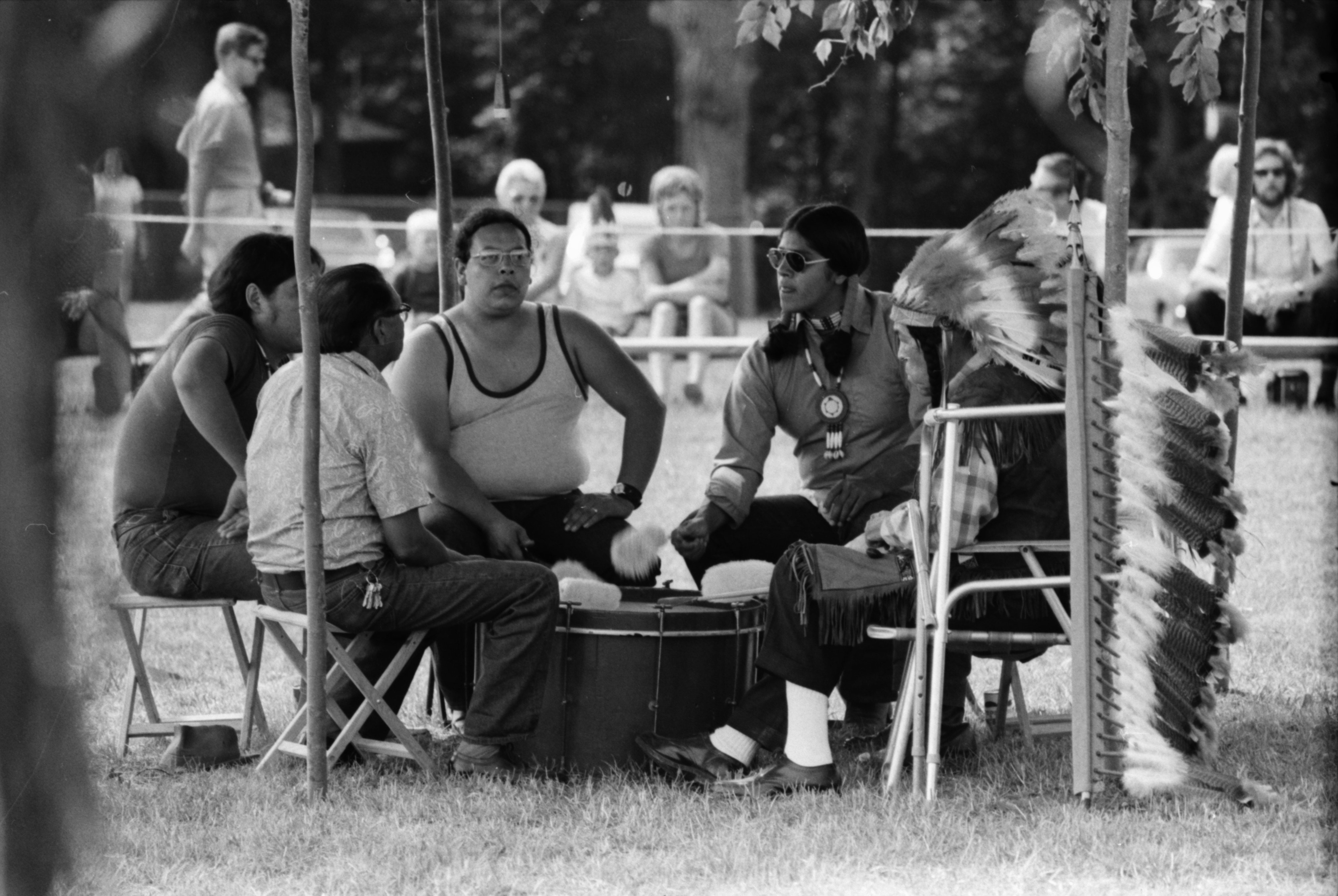 Drum Circle at the annual Powwow sponsored by American Indians Unlimited (AIU), at Knights of Columbus Park, August 1972 image