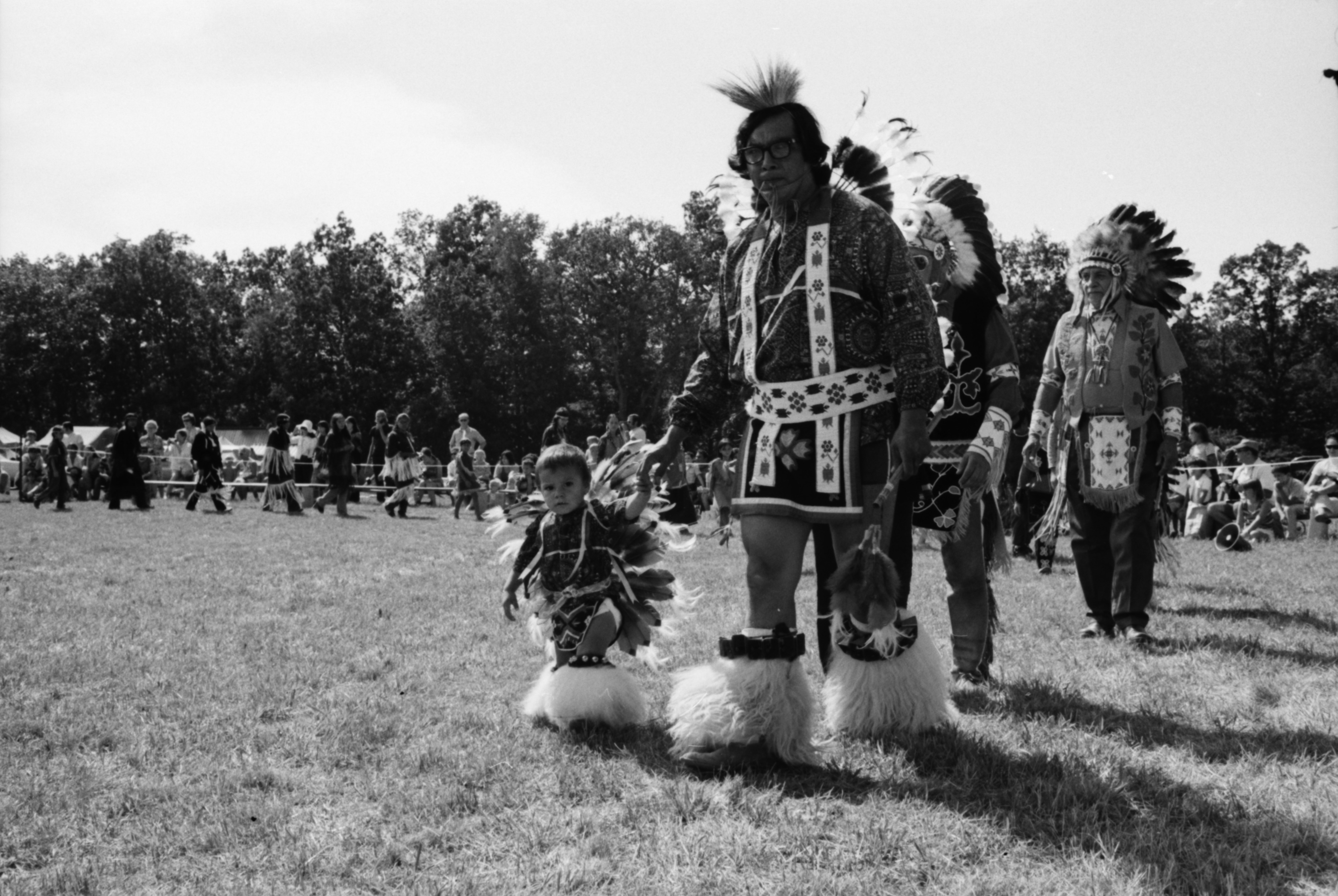 Stanley Morseau and his son, Stanley Jr., at the annual Powwow sponsored by American Indians Unlimited (AIU), Knights of Columbus Park, August 1972 image