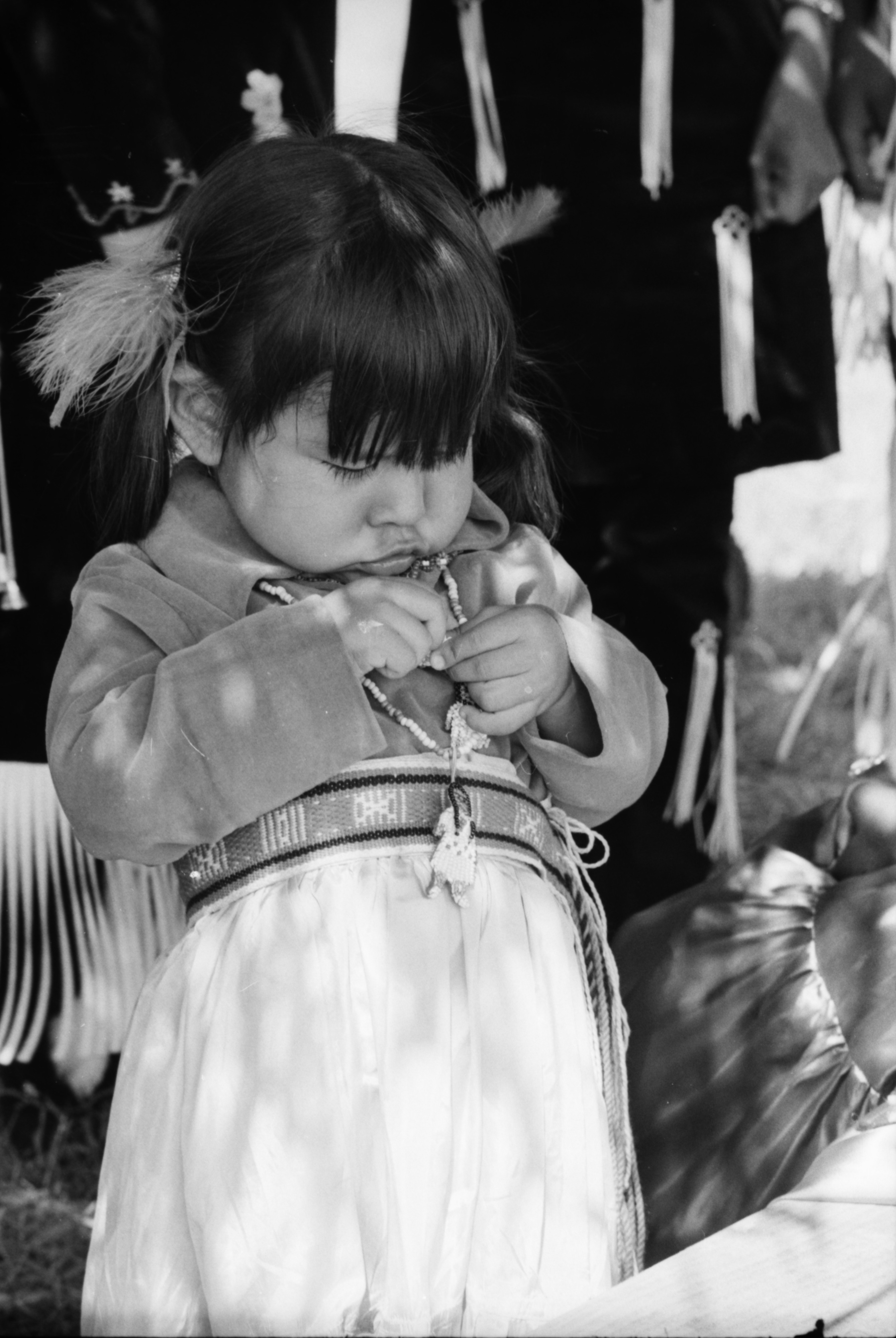 Iva Anderson of Traverse City at the annual Powwow sponsored by American Indians Unlimited (AIU), at Knights of Columbus Park, August 1972 image