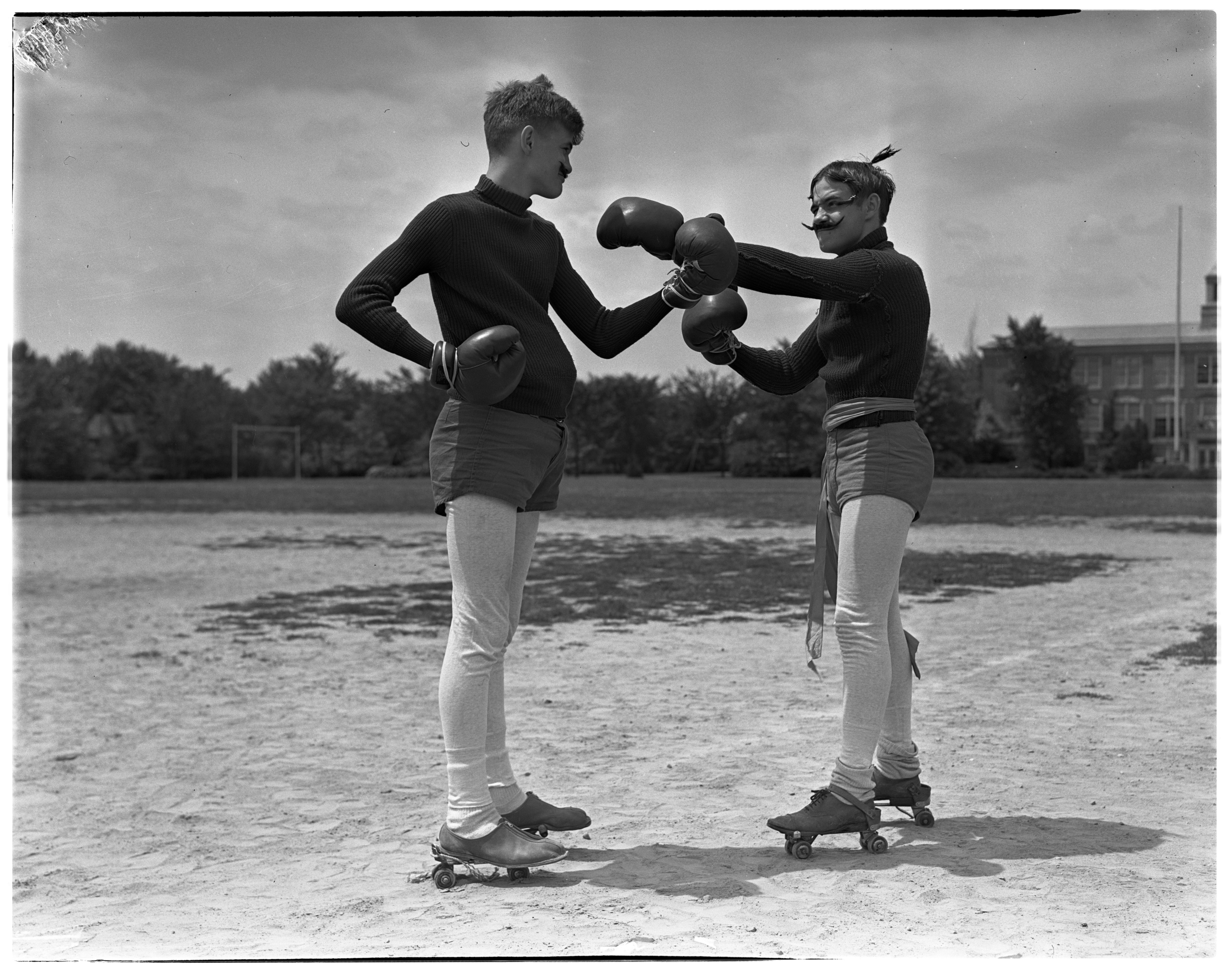 Robert Long and Stratt Brown rehearse their Corbett and Sullivan act for the All-City Circus, July 1938 image