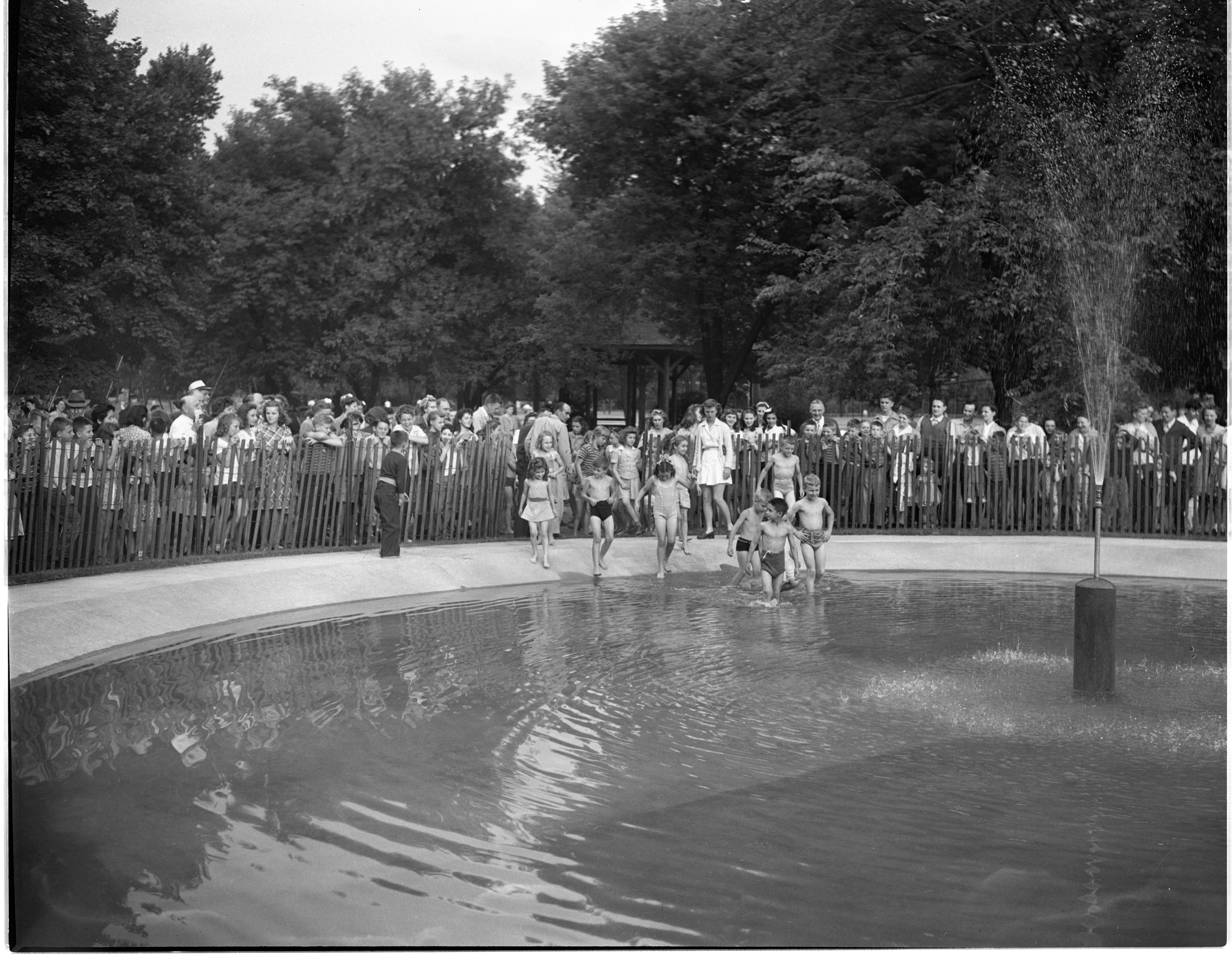 Children Enter The Water At The Opening Of The Burns Park Wading Pool, July 1944 image