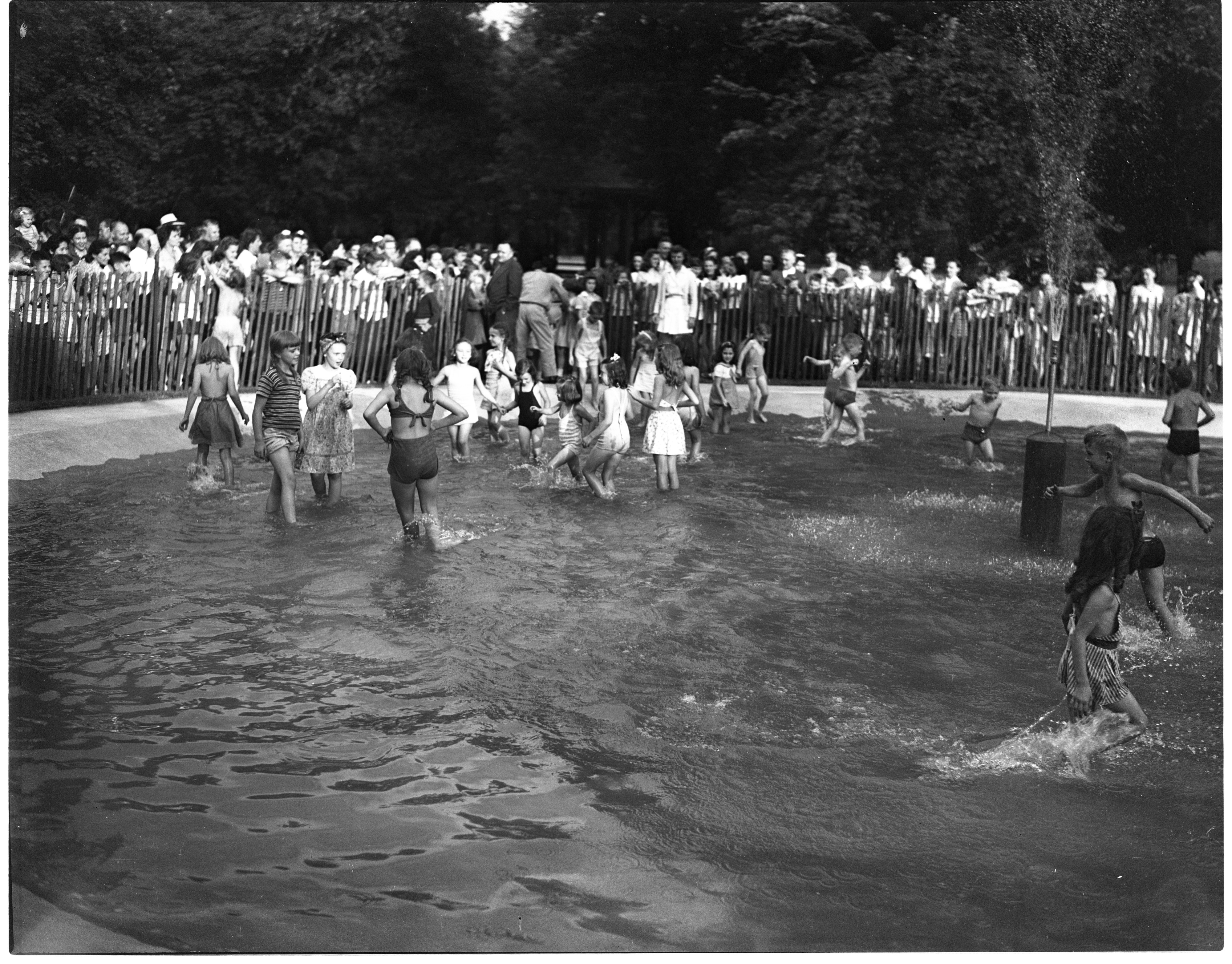 Neighborhood Children Enjoy The Opening Of The Burns Park Wading Pool, July 1944 image