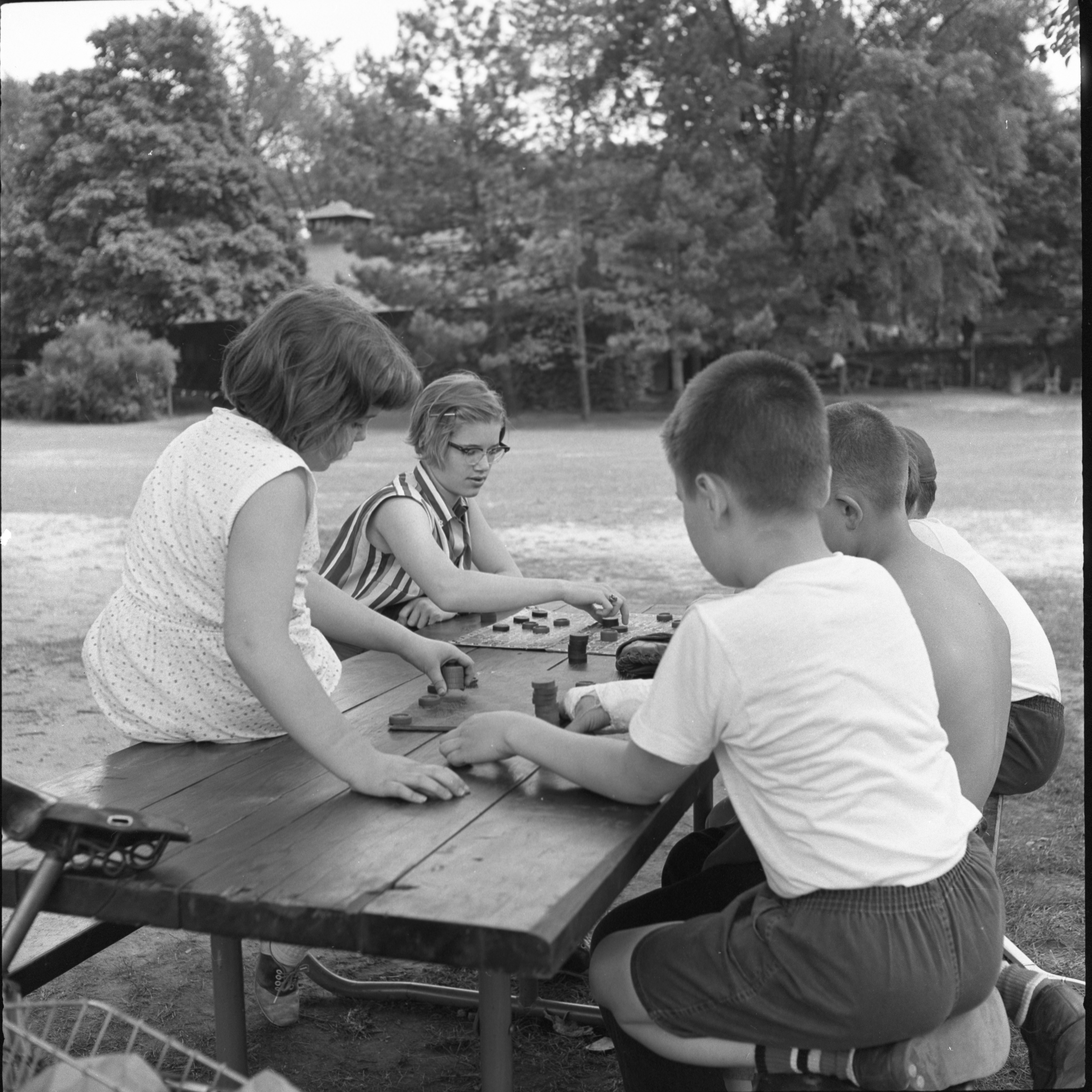 Children Play Checkers At Burns Park, June 1957 image