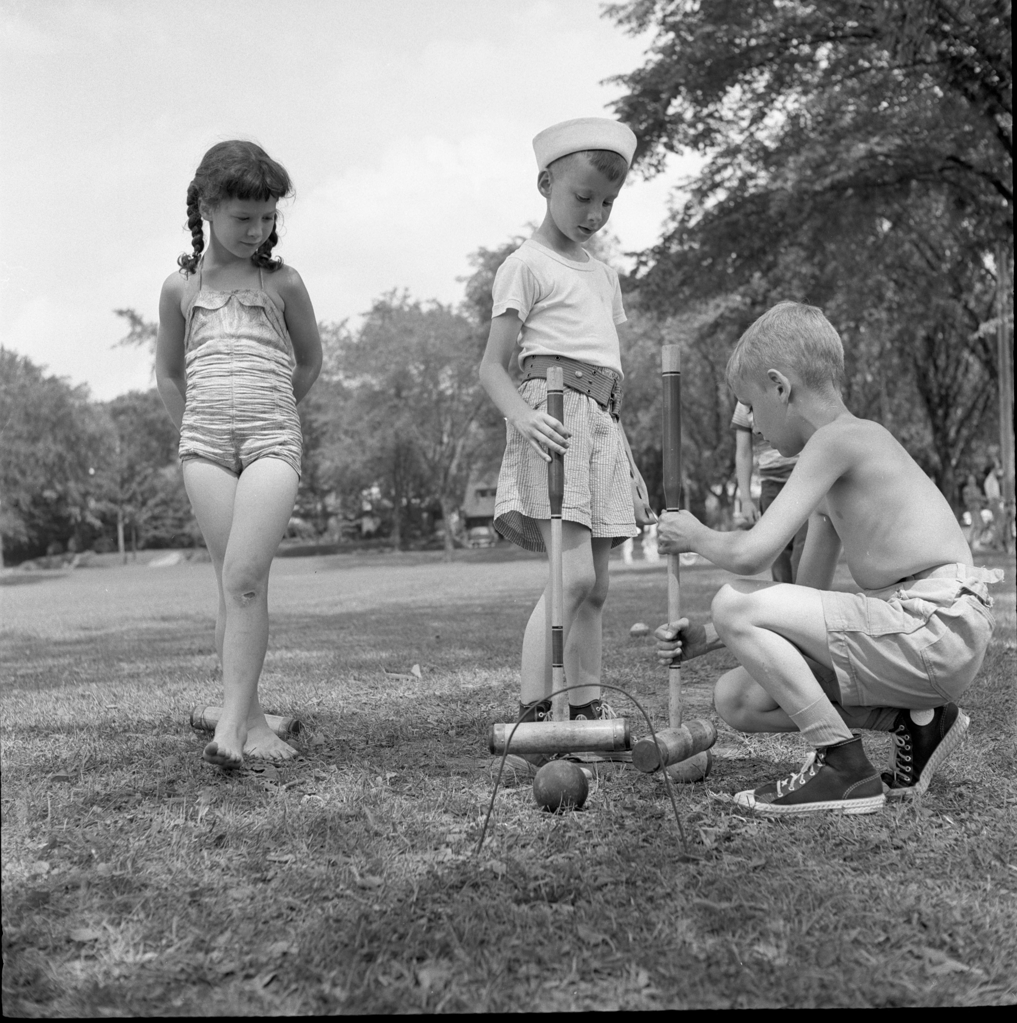 Children Play Croquet At Burns Park, June 1957 image