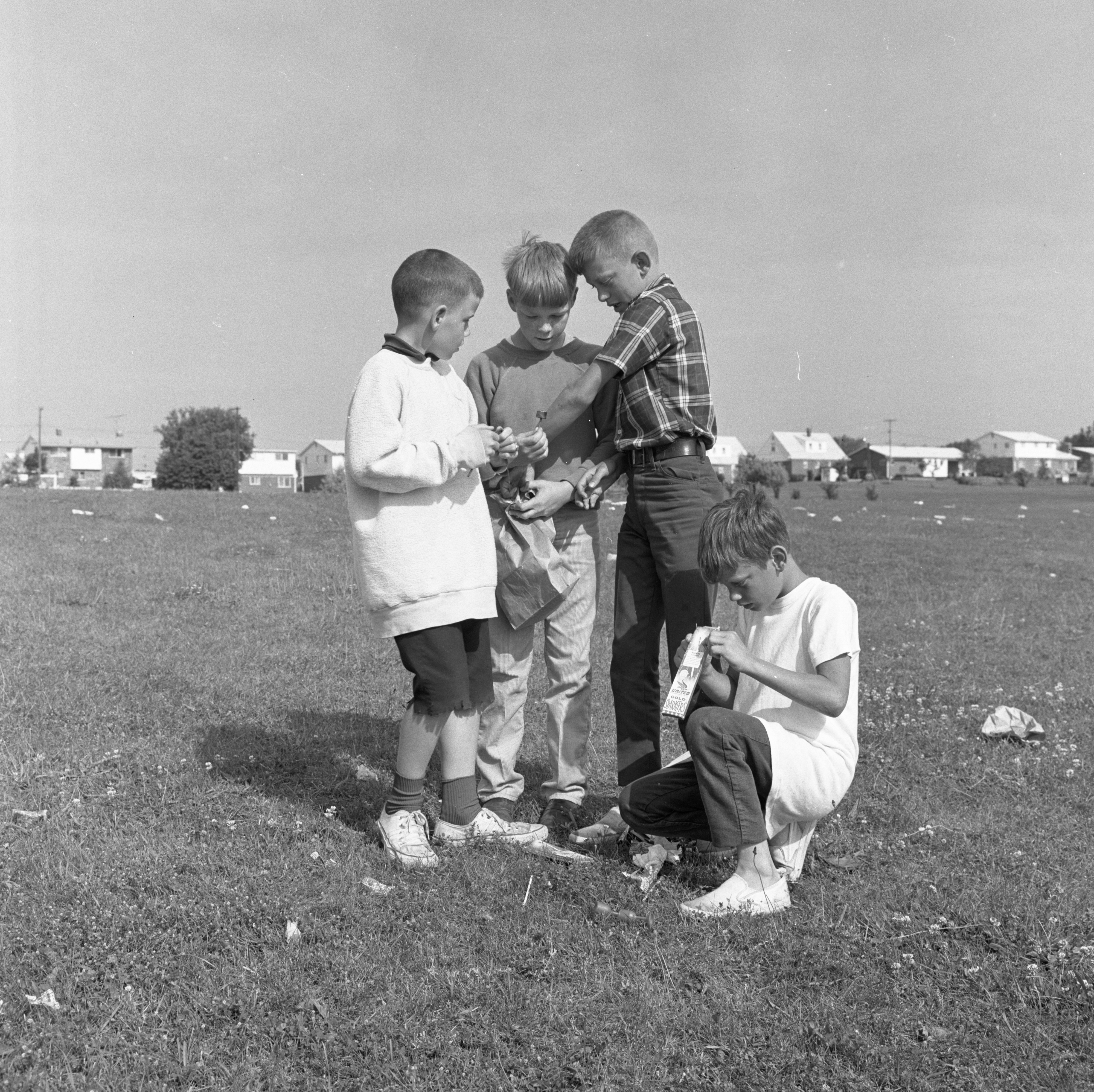 Boys At Buhr Park The Morning After Fireworks Show - July 5, 1967 image