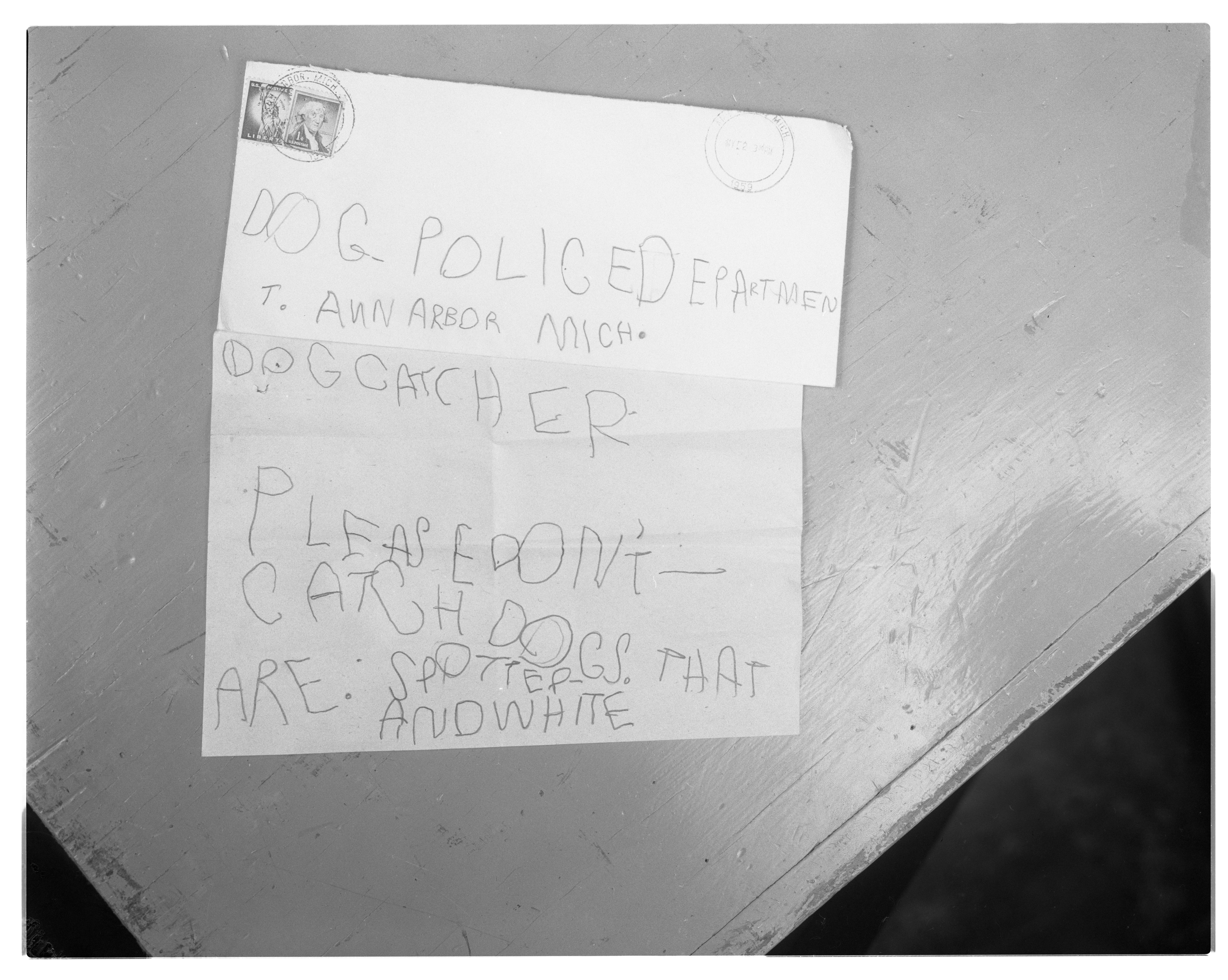 Letter Sent By Five-Year-Old David Johnson to Ann Arbor Police Department, May 1959 image