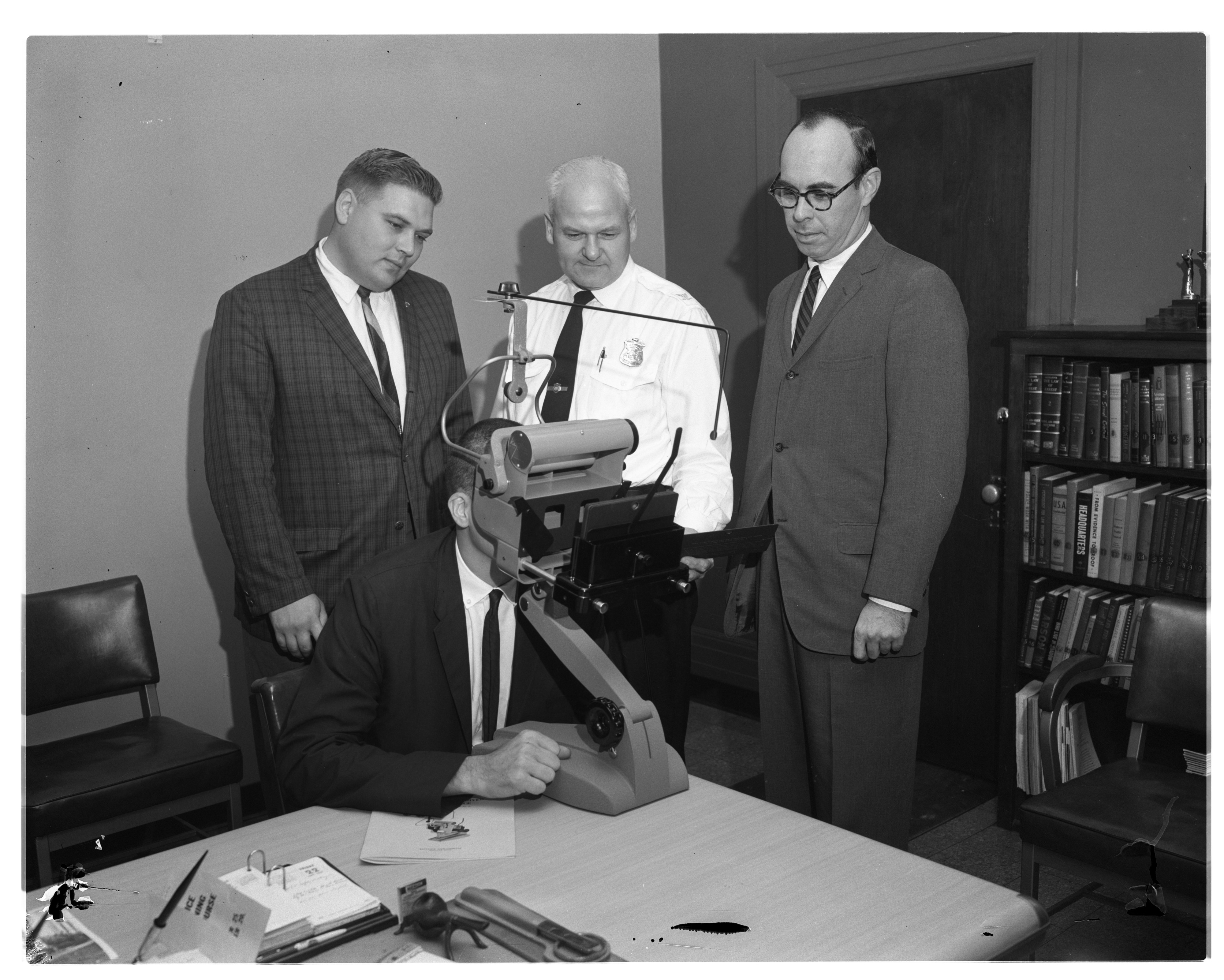 City Officials Check Out New Driver's Exam Machine Donated To City, September 1961 image