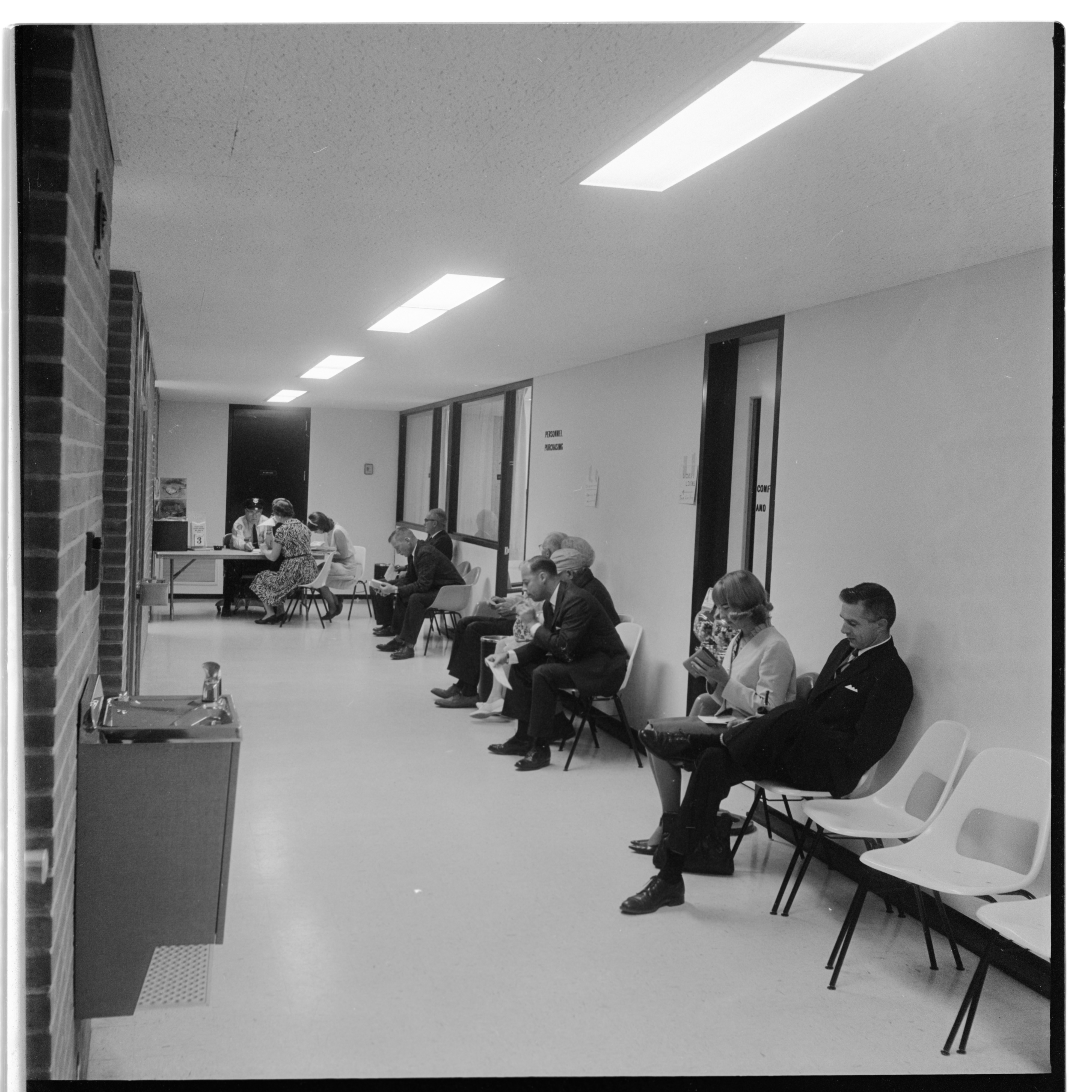 Outside Ann Arbor Police Department Driver's License Bureau At City Hall, September 1965 image
