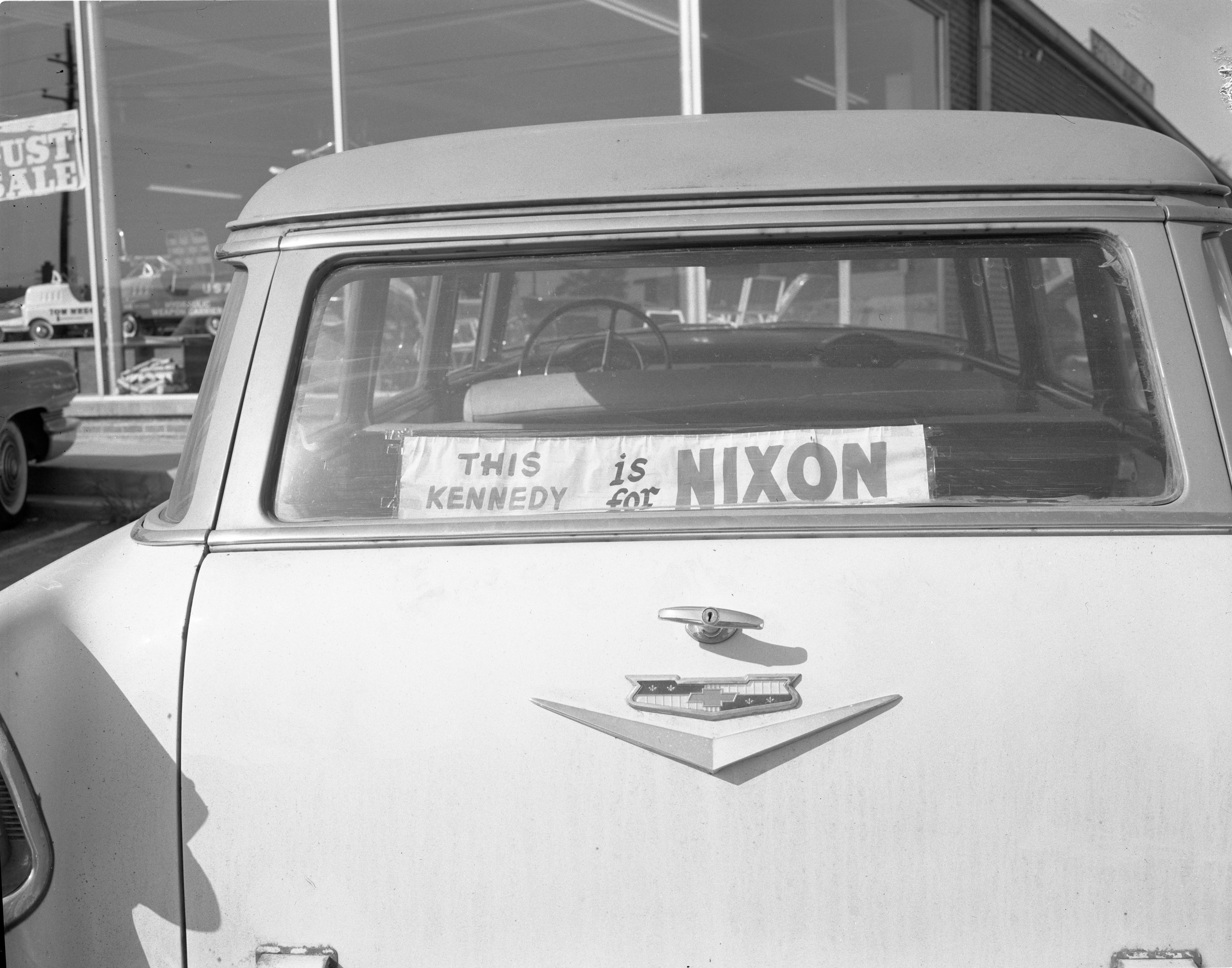 """This Kennedy Is For Nixon"" Political Sign In Car Window, September 1960 image"