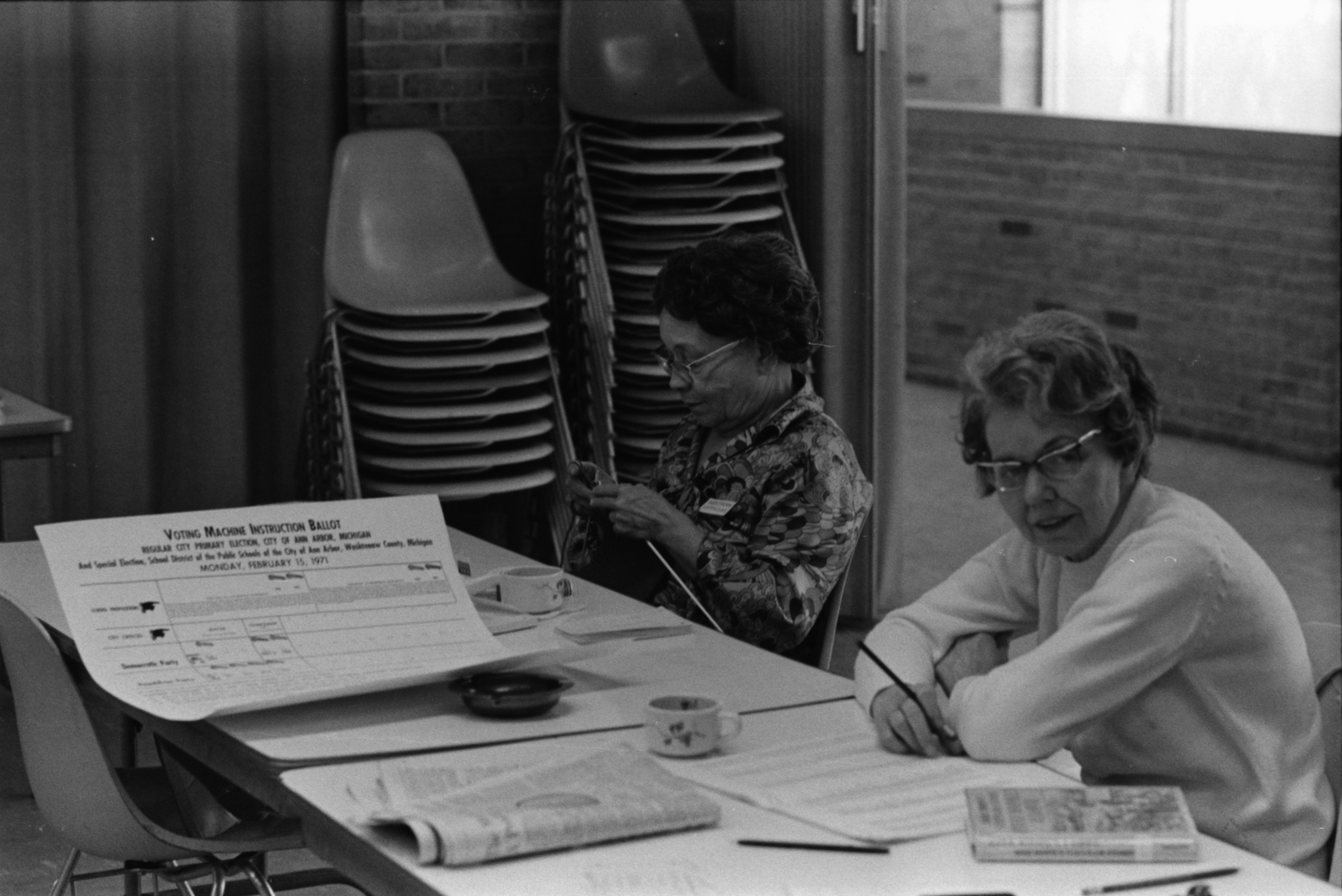Election Workers Waiting for Voters at First Ward, Precinct 2, February 1971 image