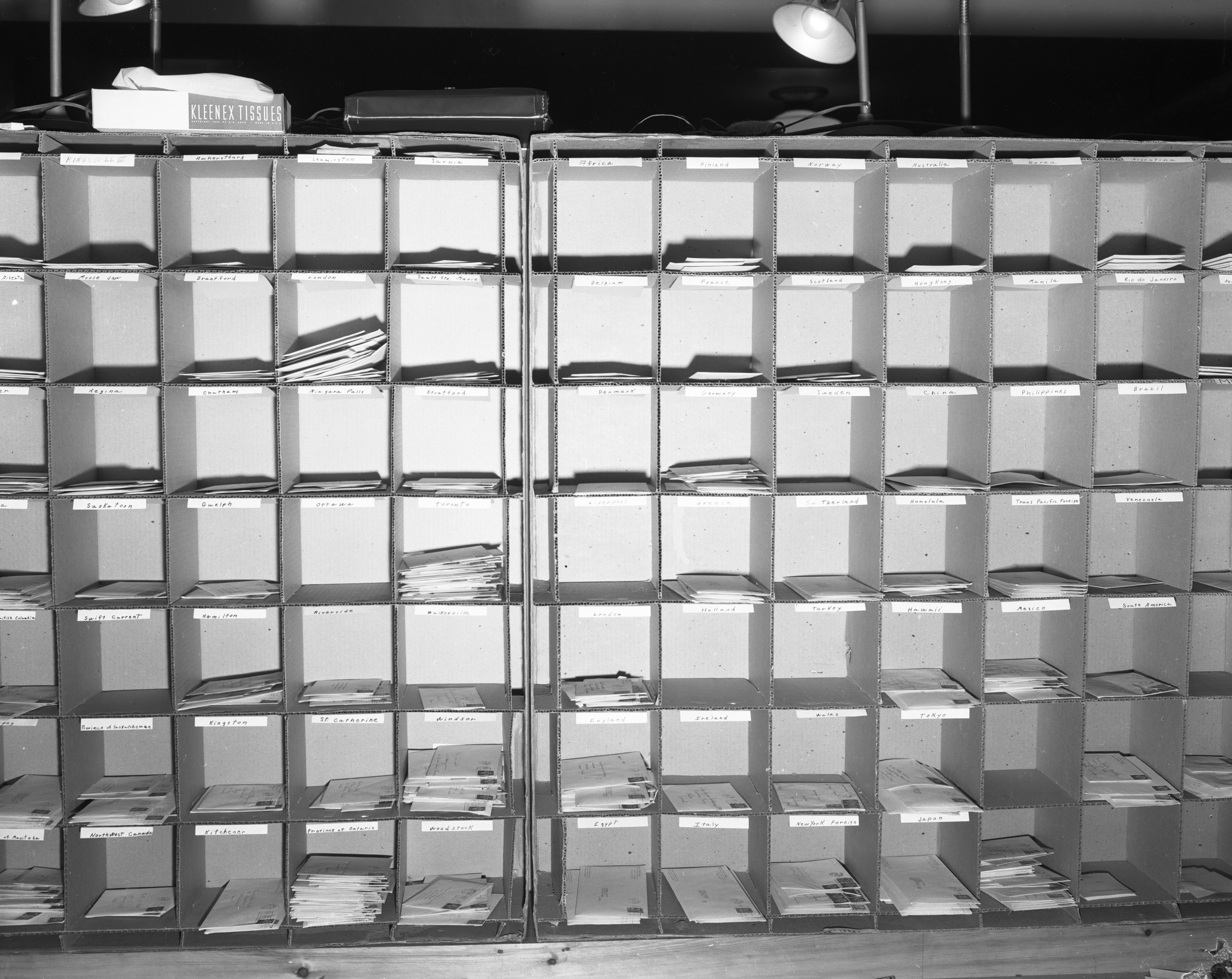 A mail sorting box at the Ann Arbor Post Office is key to handling holiday mail, December 1955 image