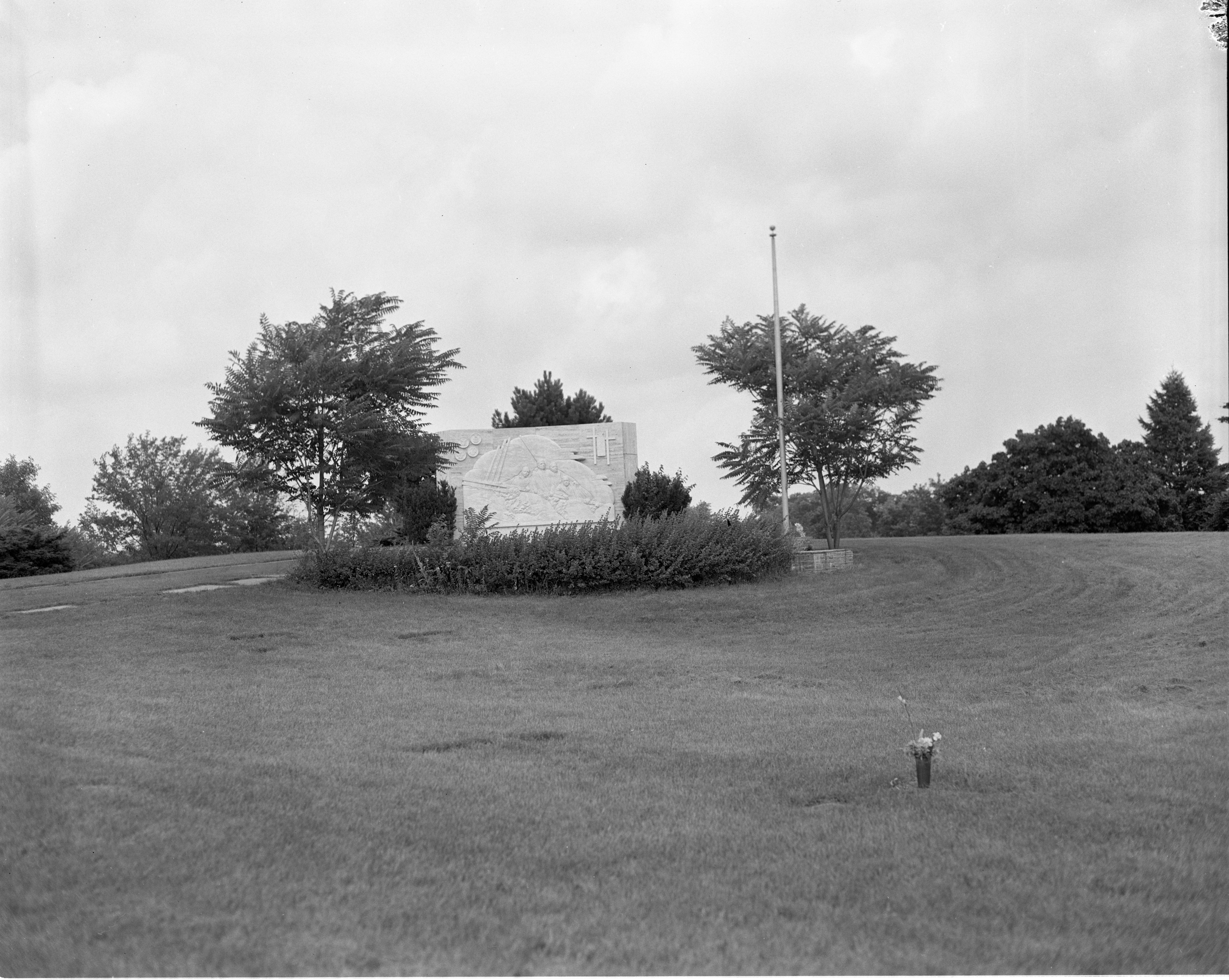 Four Chaplains Monument In Recently Mowed Arborcrest Cemetery, August 1966 image
