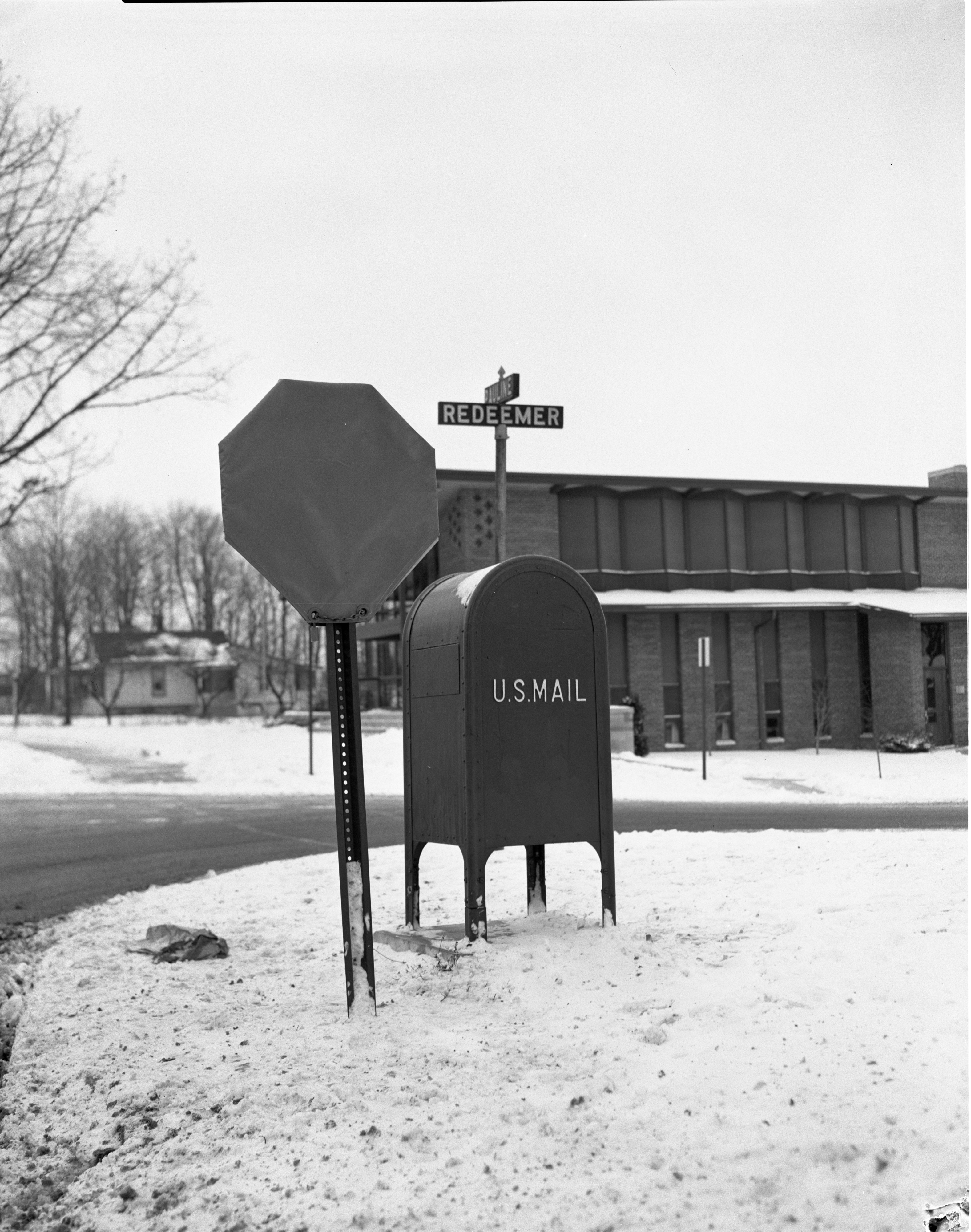 Short Stop Sign At Corner of Redeemer Ave and Pauline Blvd, February 1961 image