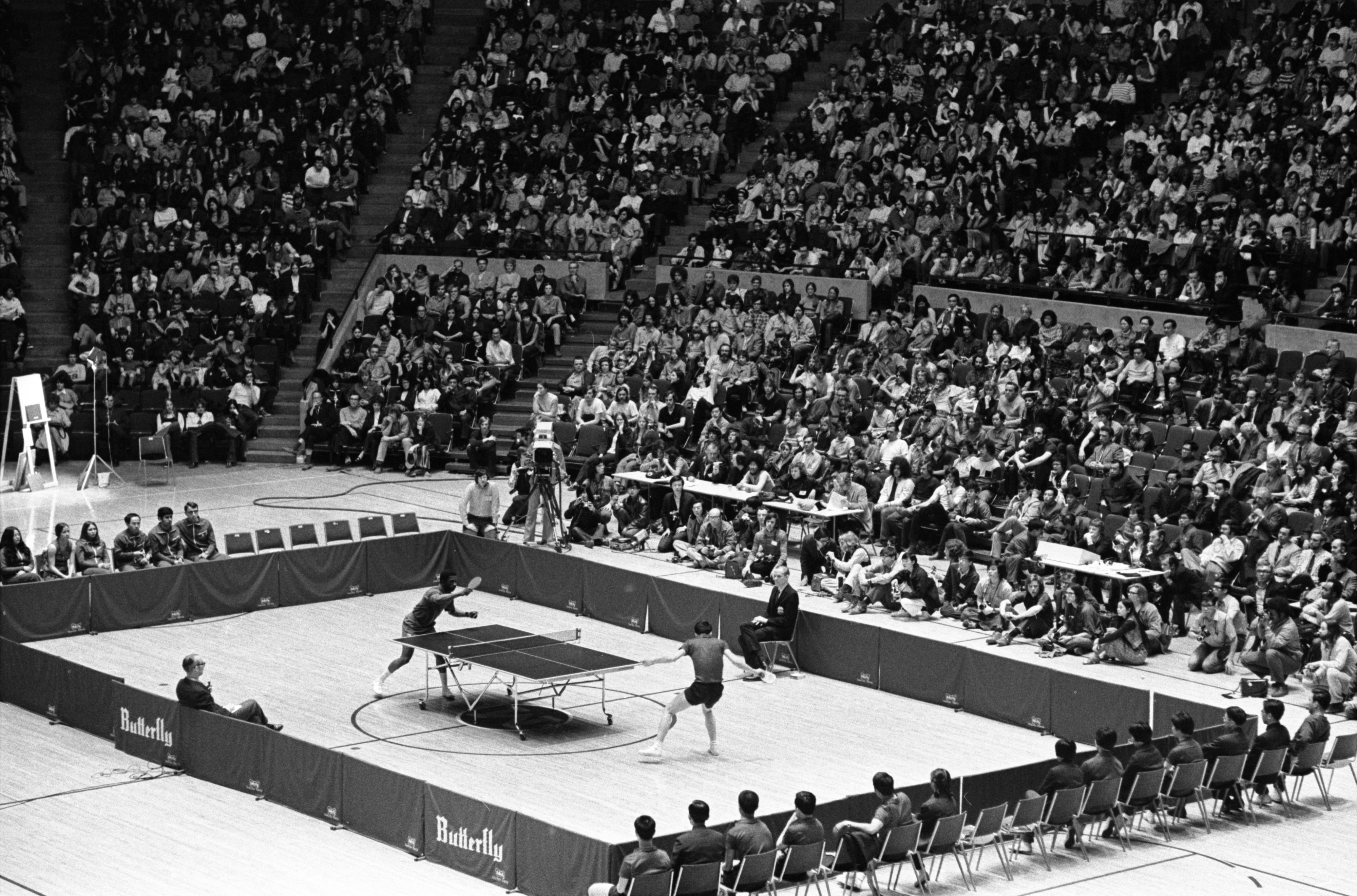 Ping-Pong Exhibition Match At Crisler Arena Between American & Chinese Players, April 1972 image