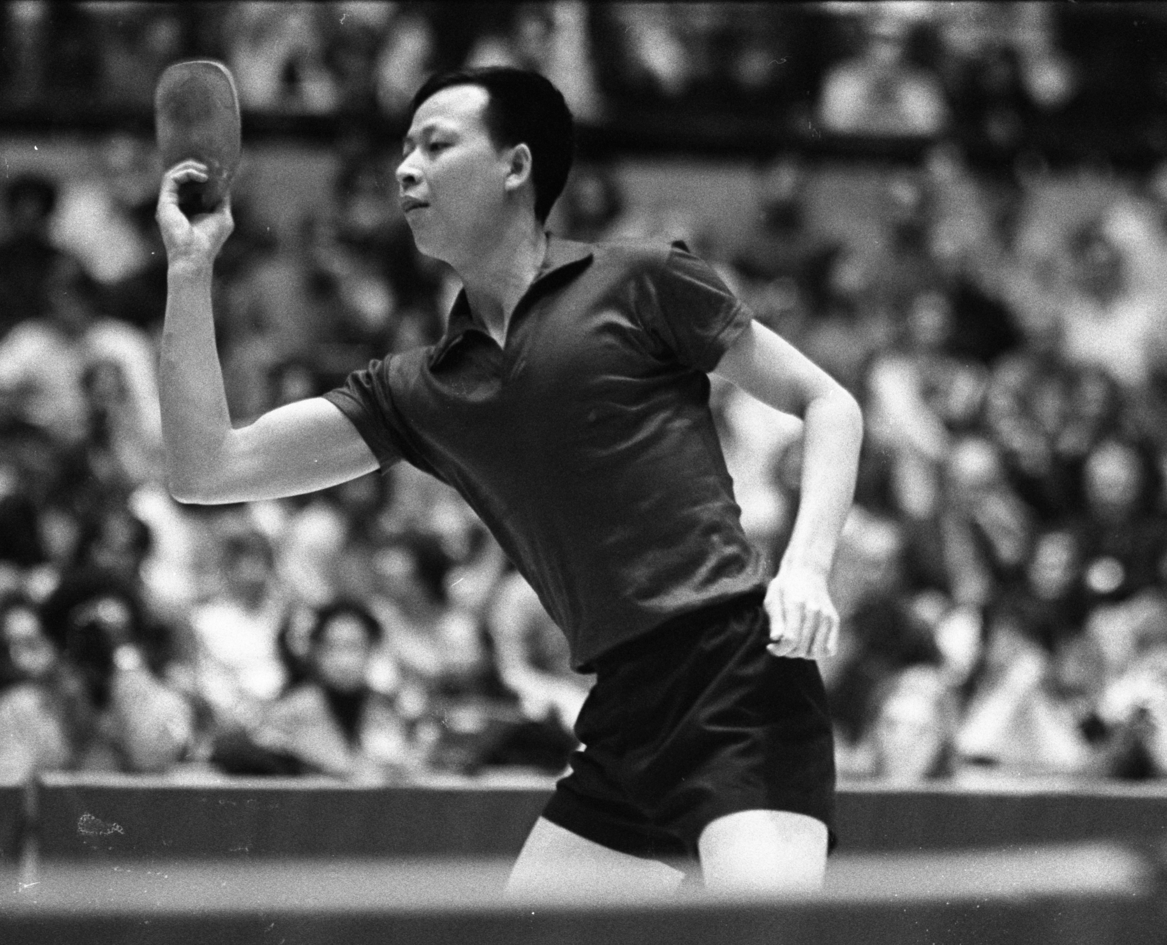 Chinese Ping-Pong Player, Ch'en Pao-ching, At Ping-Pong Exhibition Match At Crisler Arena, April 1972 image