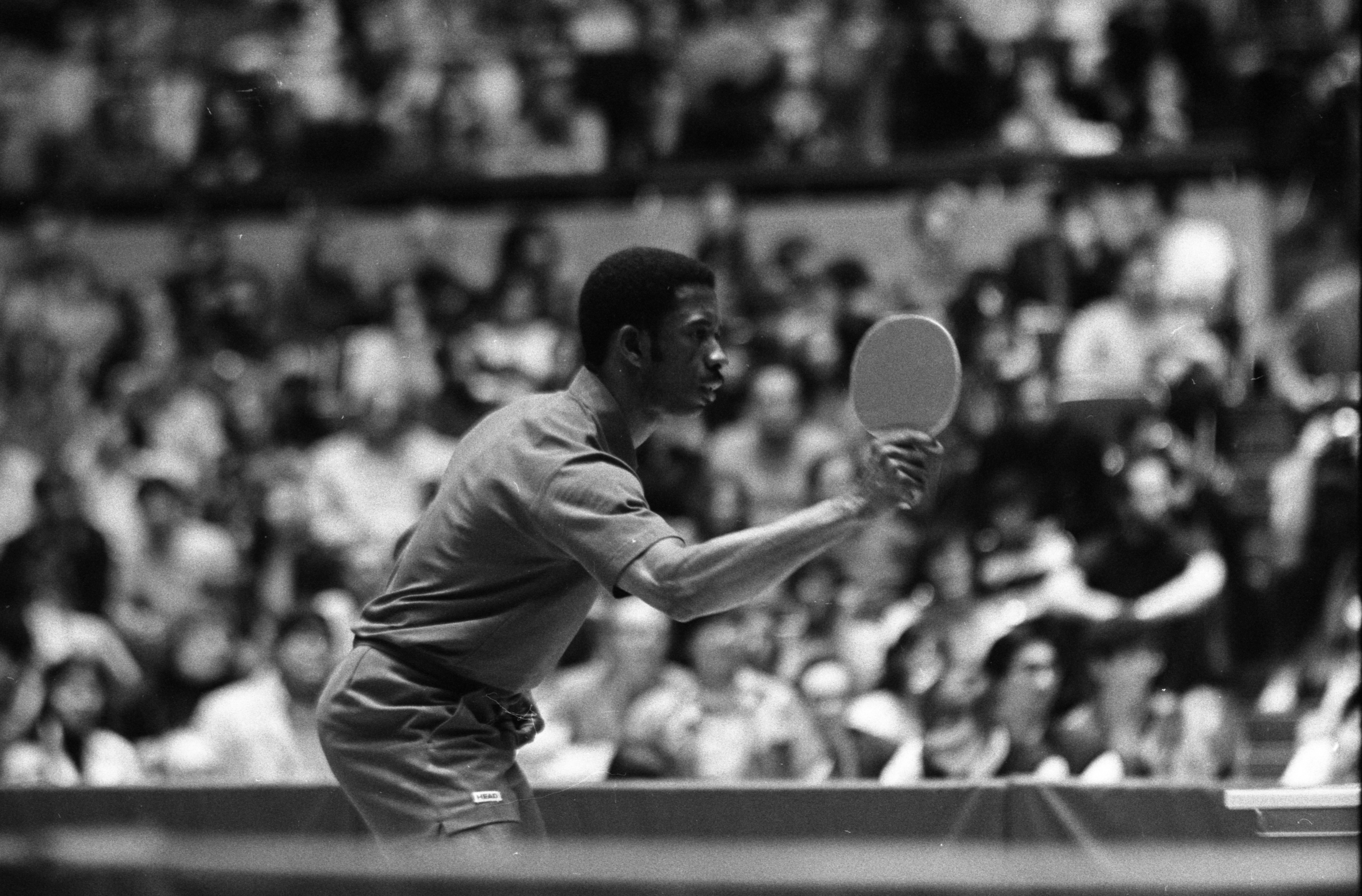 American Ping-Pong Player, George Brathwaite, At Ping-Pong Exhibition Match At Crisler Arena, April 1972 image
