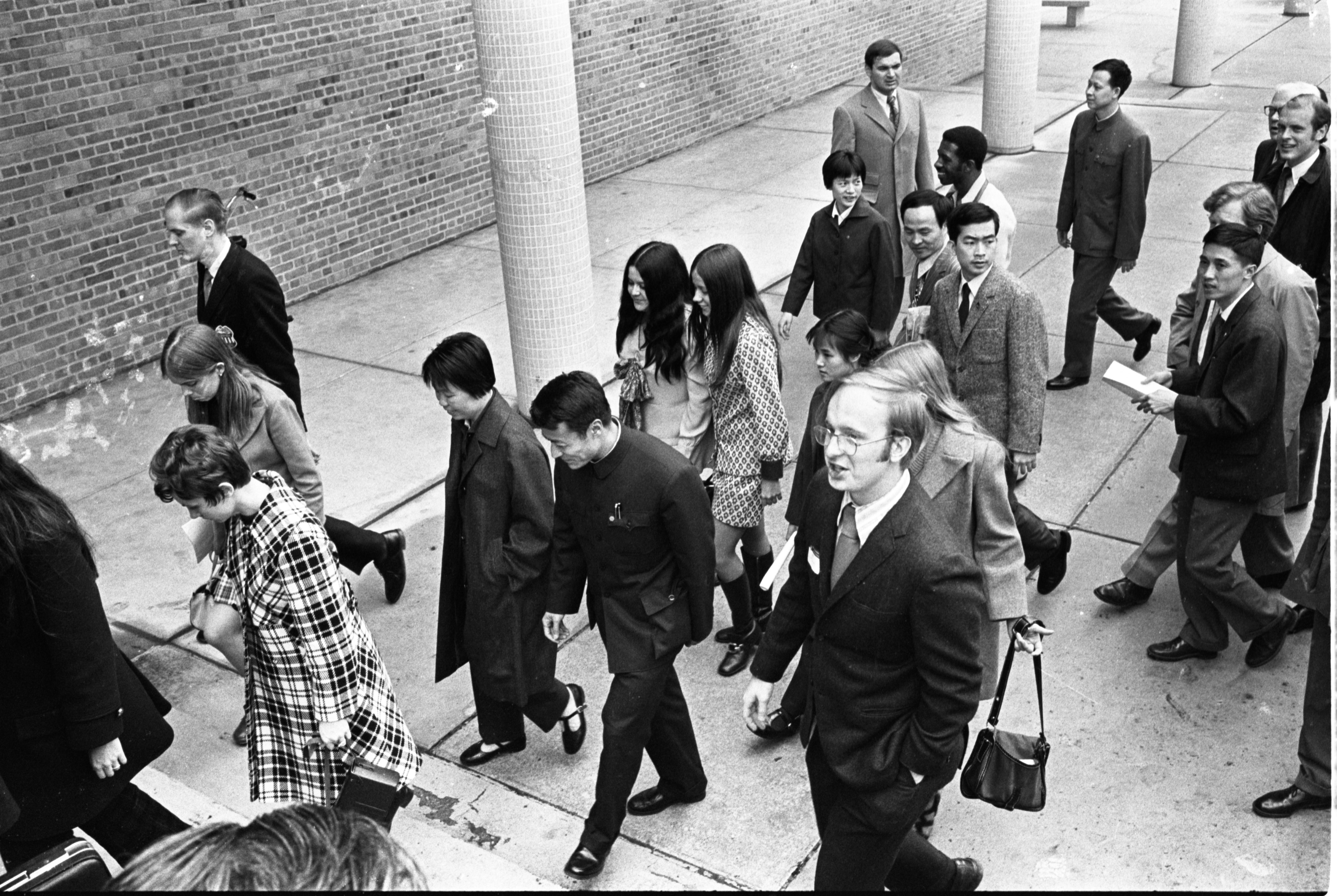 Chinese Ping-Pong Players Are Escorted Around Campus, April 1972 image