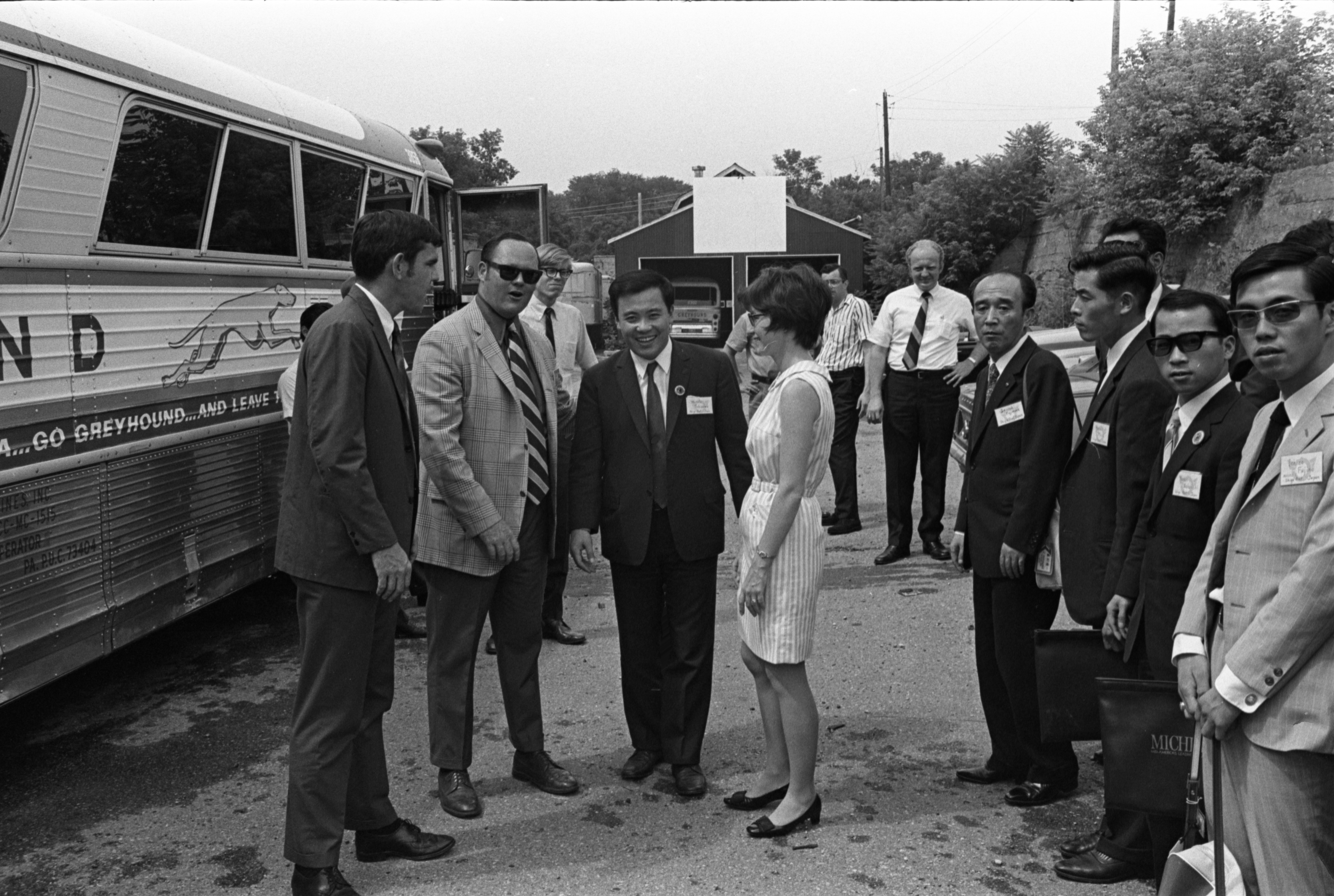 Visitors From The Sister State Of Shiga, Japan, Are Greeted By Members Of The Jaycees, July 14, 1970 image