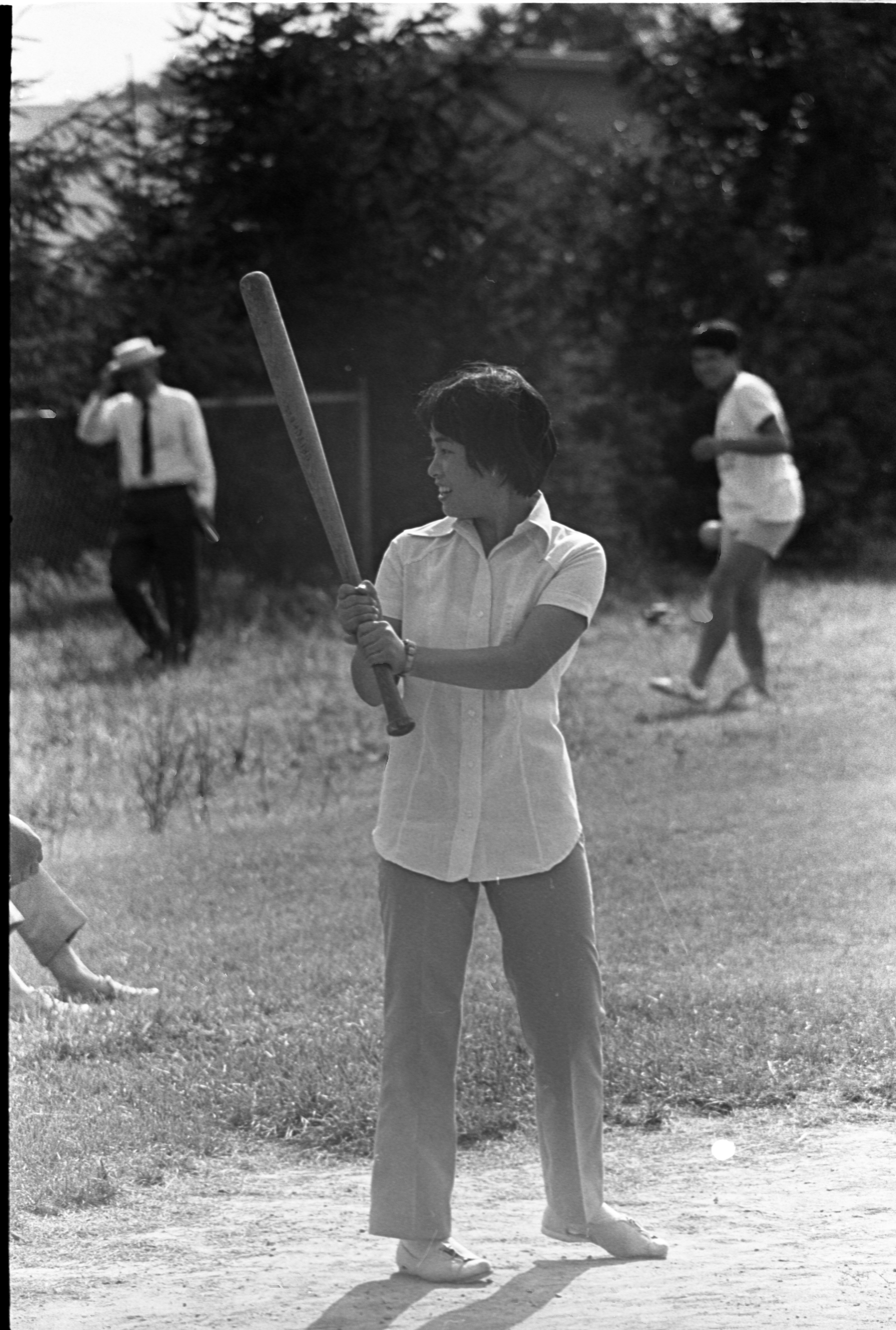 Visiting Japanese High School Students Enjoy Playing Baseball Against Ann Arbor Students At Dicken School, August 9, 1970 image