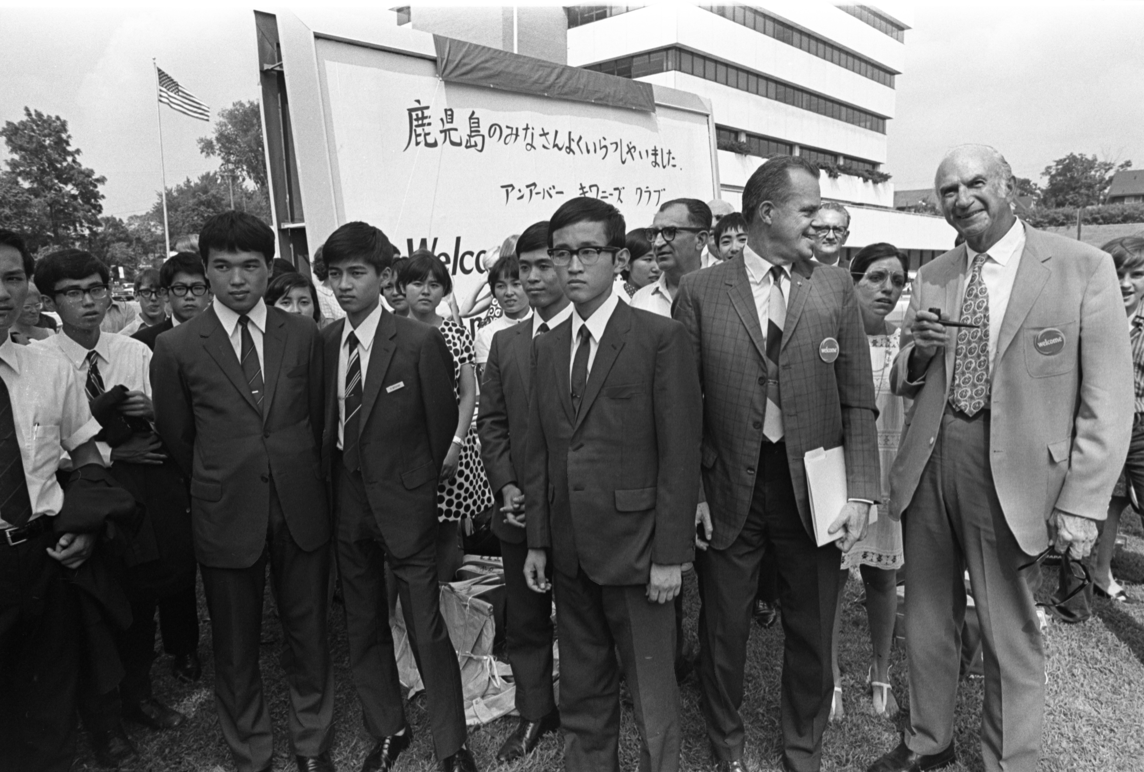 Visiting Japanese High School Students With Kiwanis Club Sponsors, August 1, 1970 image