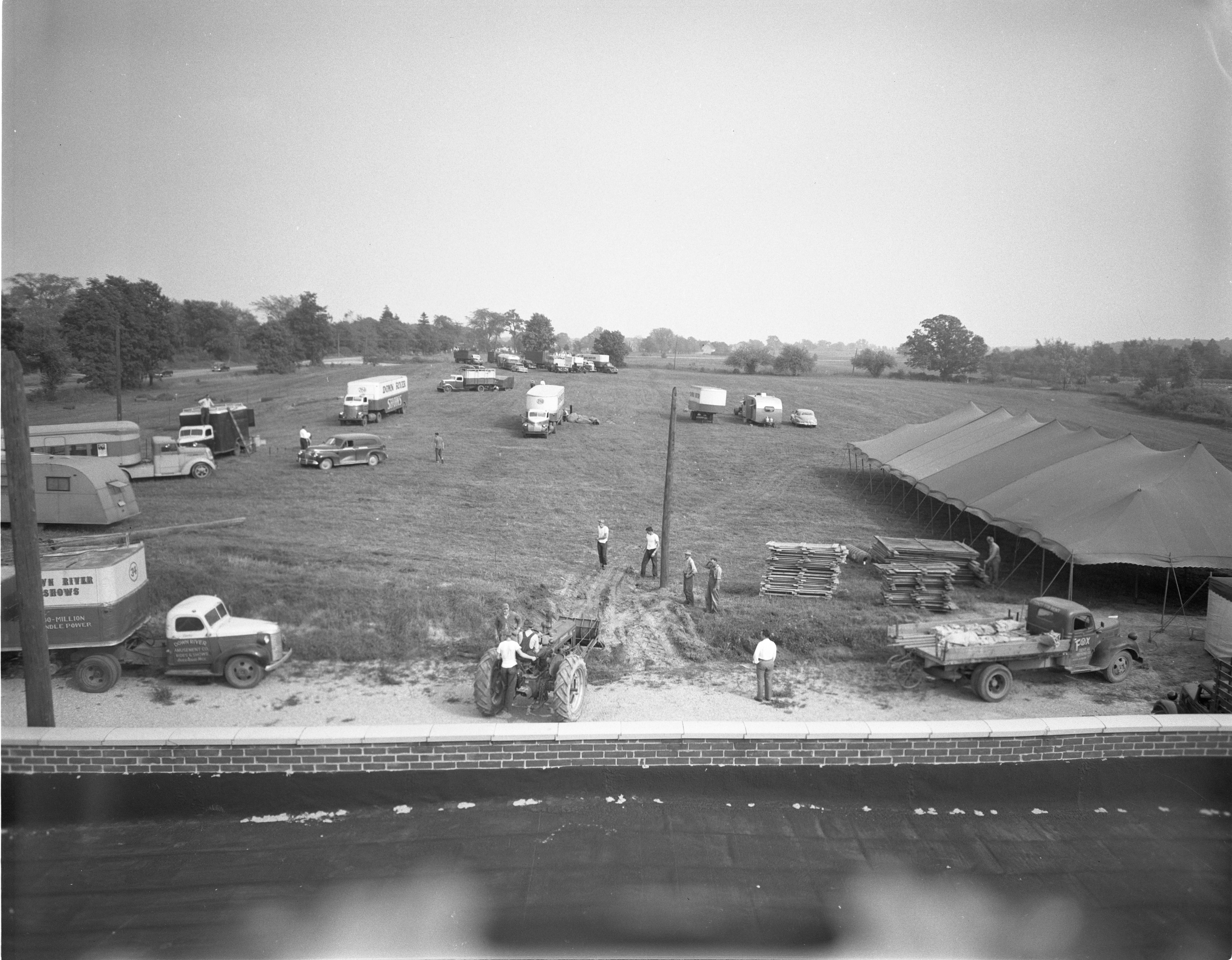 Workmen Prepare Site Of Annual Chelsea Community Fair, October 1950 image