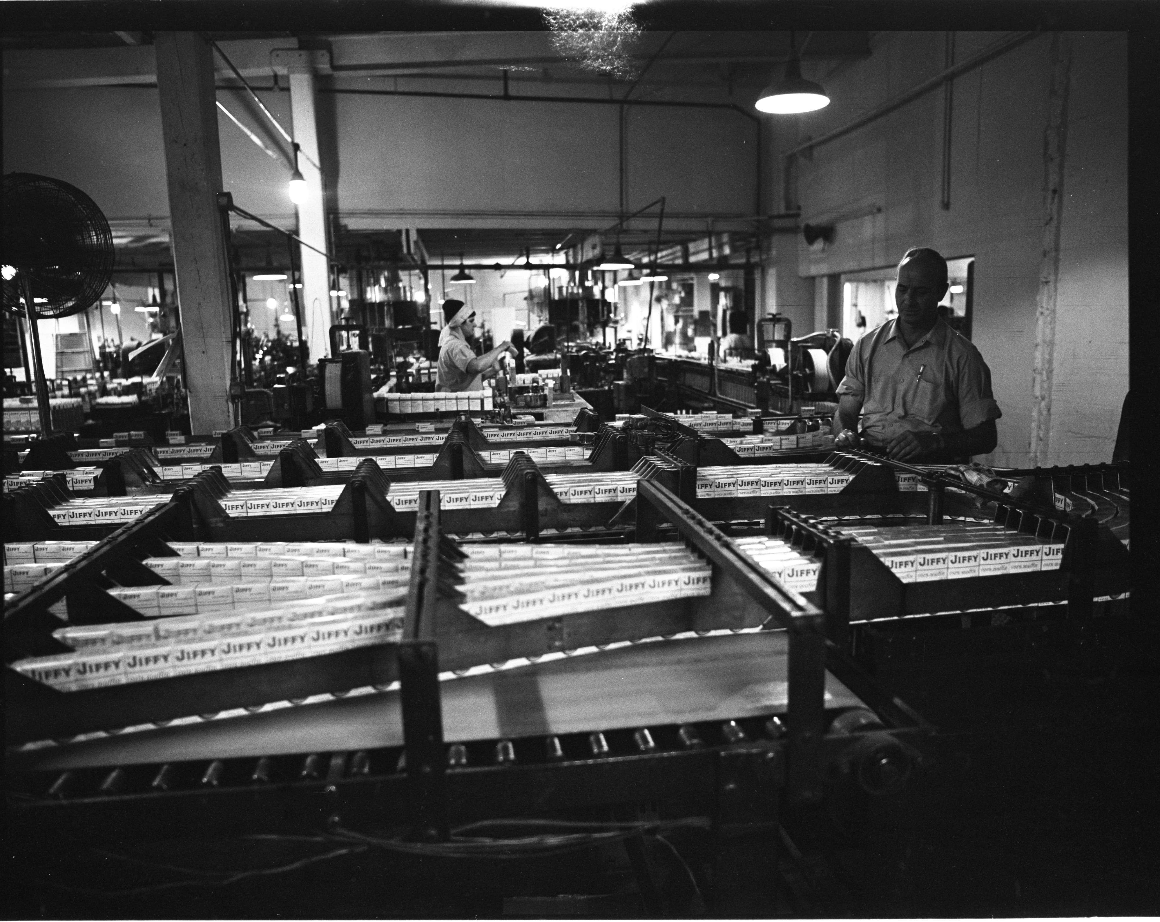 Boxes Of Jiffy Mix Travel The Assembly Lines At The Chelsea Milling Company's Packaging Plant, July 1973 image