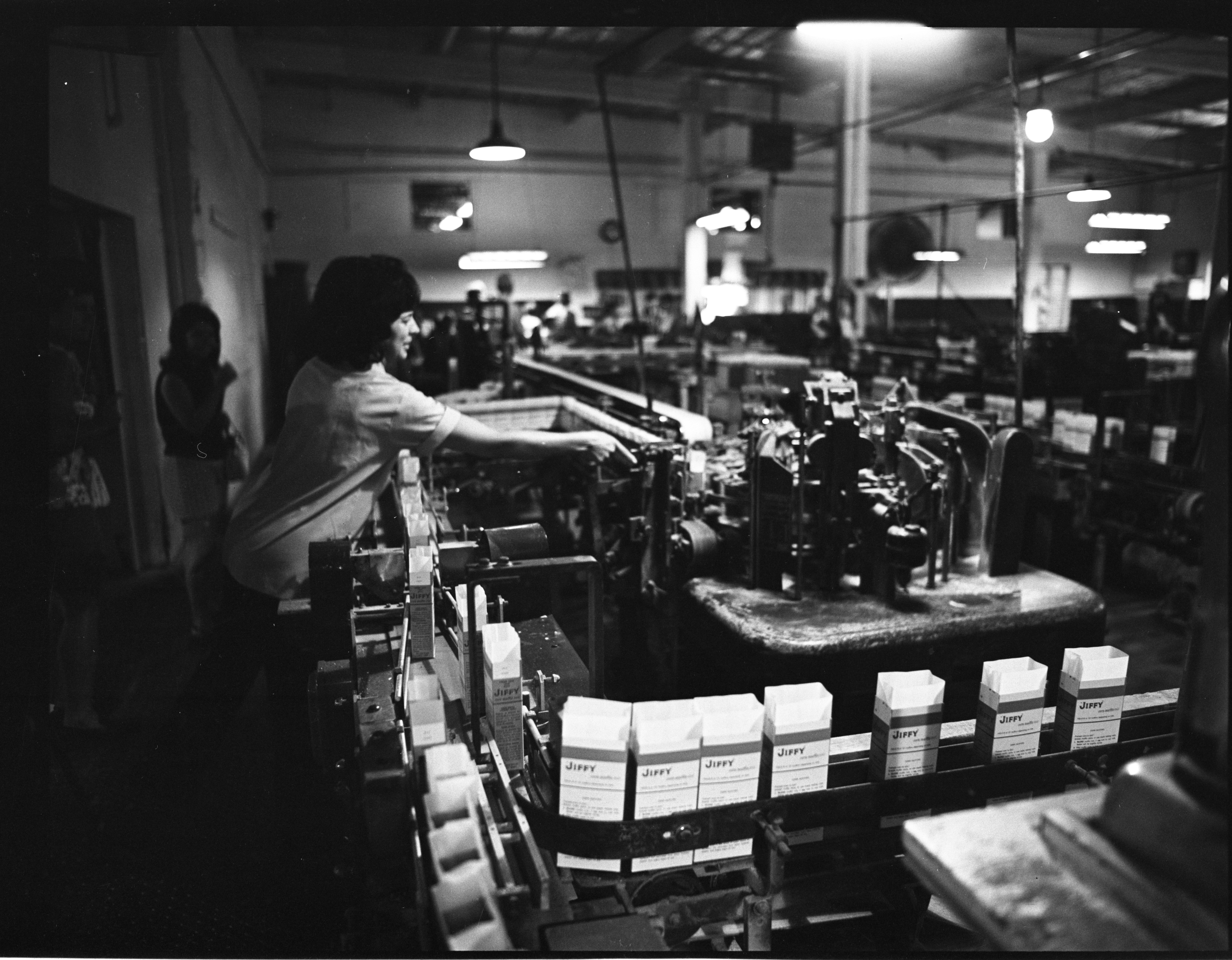 Boxes Of Jiffy Mix Are Inspected As They Travel The Chelsea Milling Assembly Lines, July 1973 image