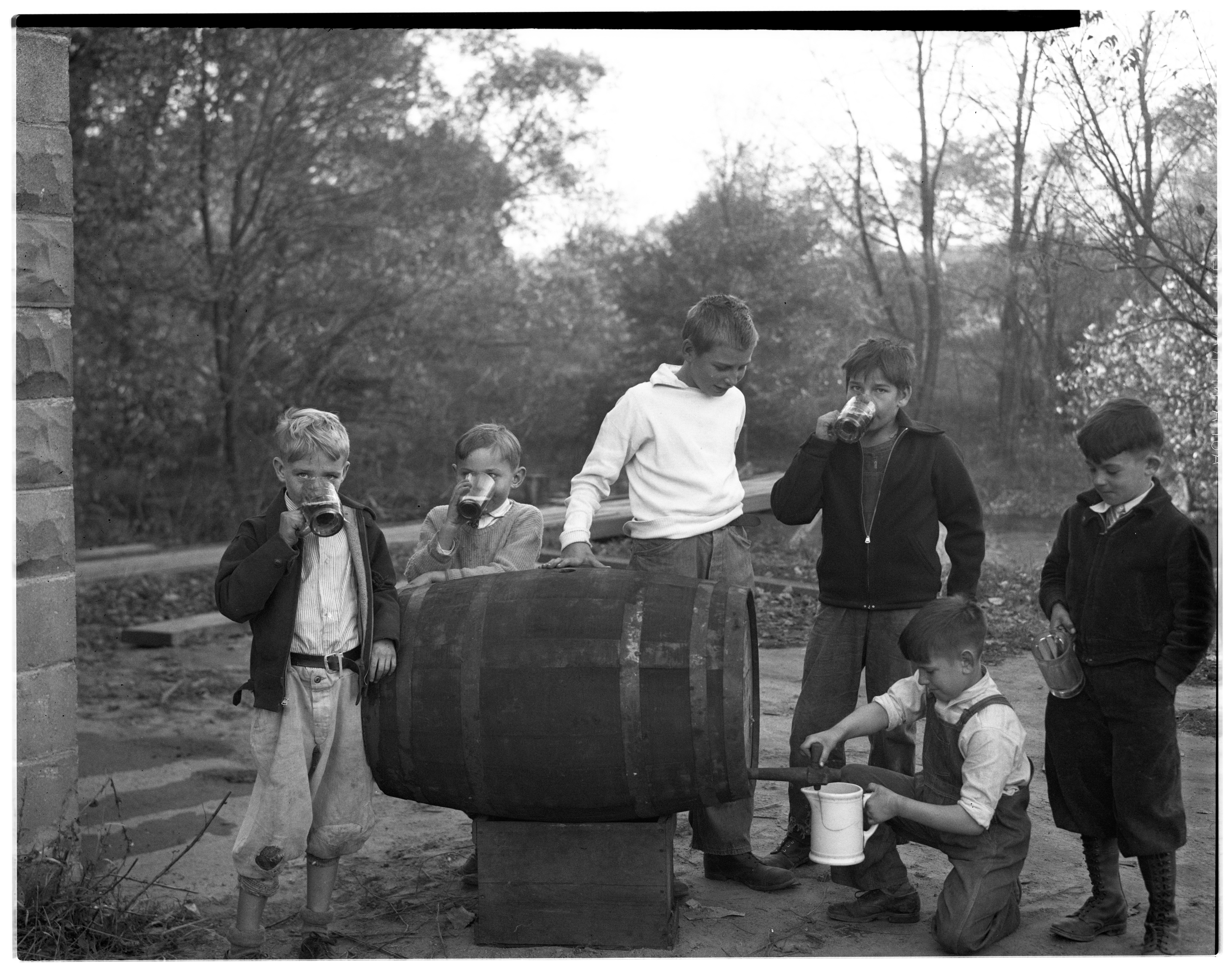 Image from Dexter Boys Drinking Cider At Otto Wagner Mill, October 1935