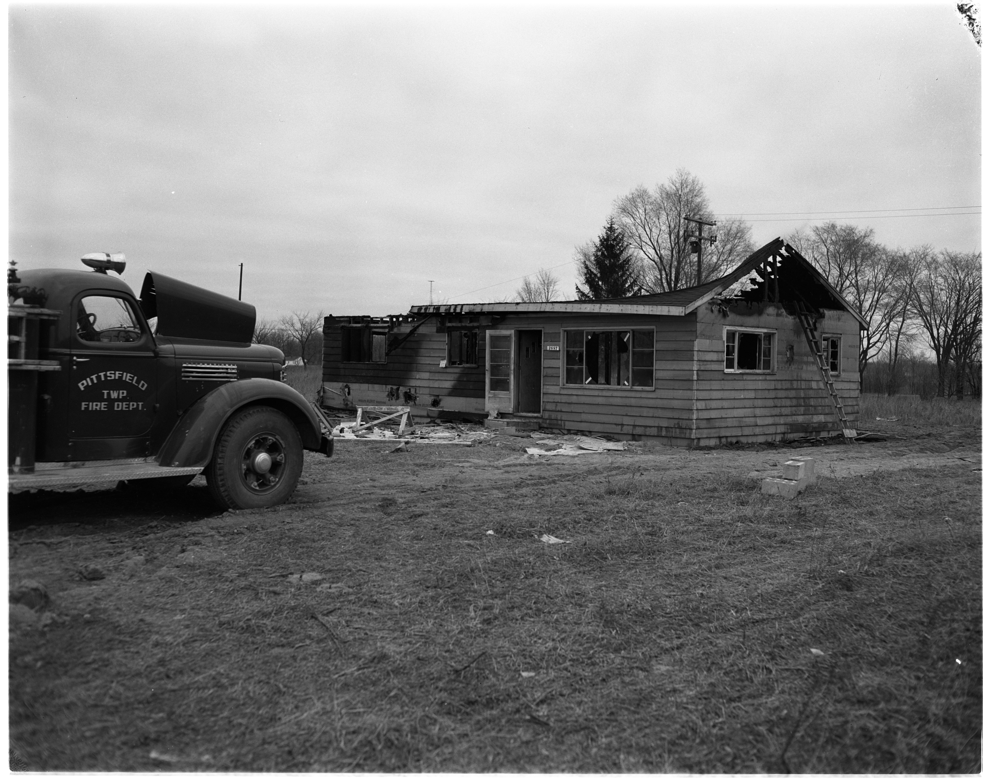 Aftermath of House Fire in Pittsfield, January 1955 image