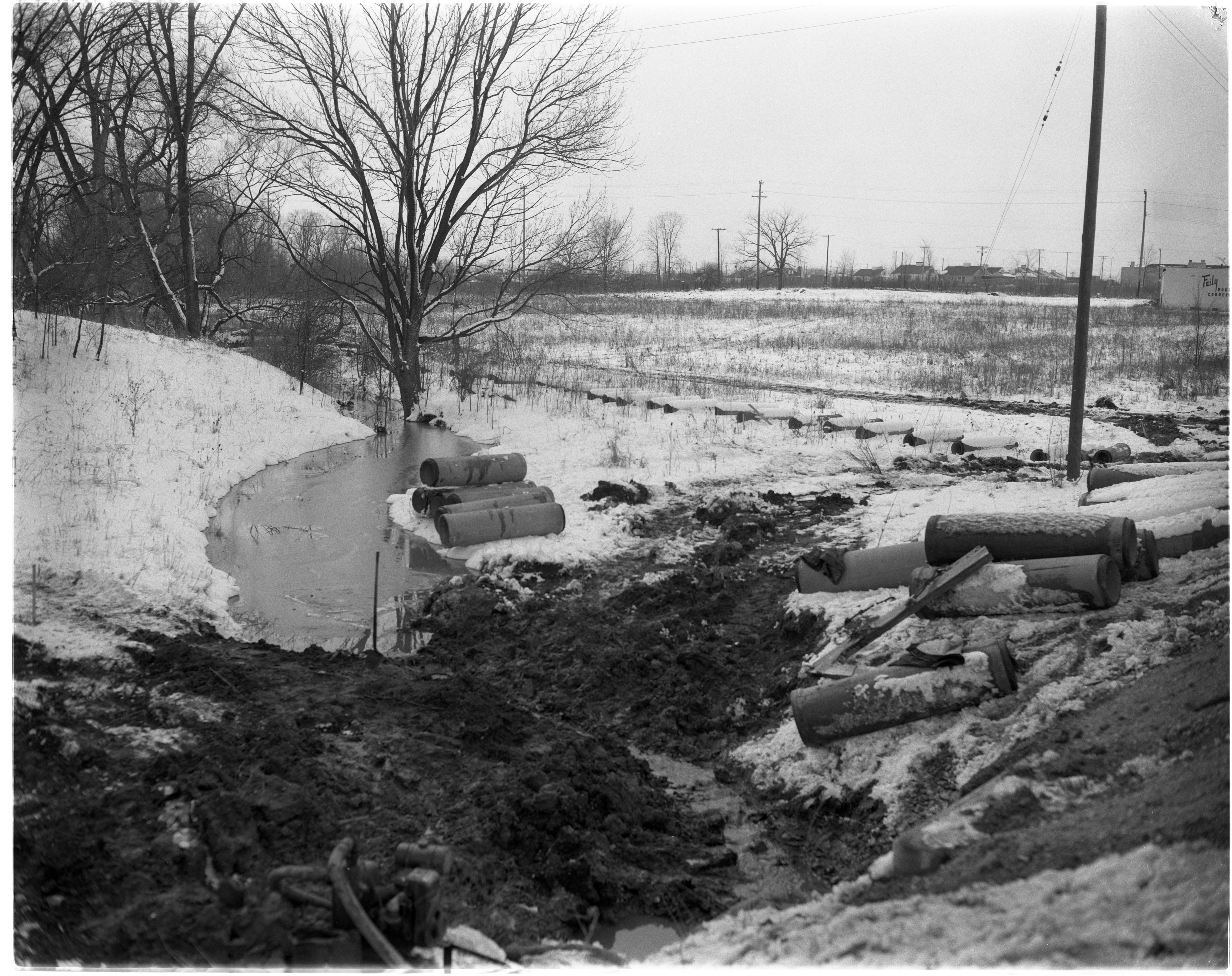 Construction on Swift Run Drain in Pittsfield Township, February 1957 image