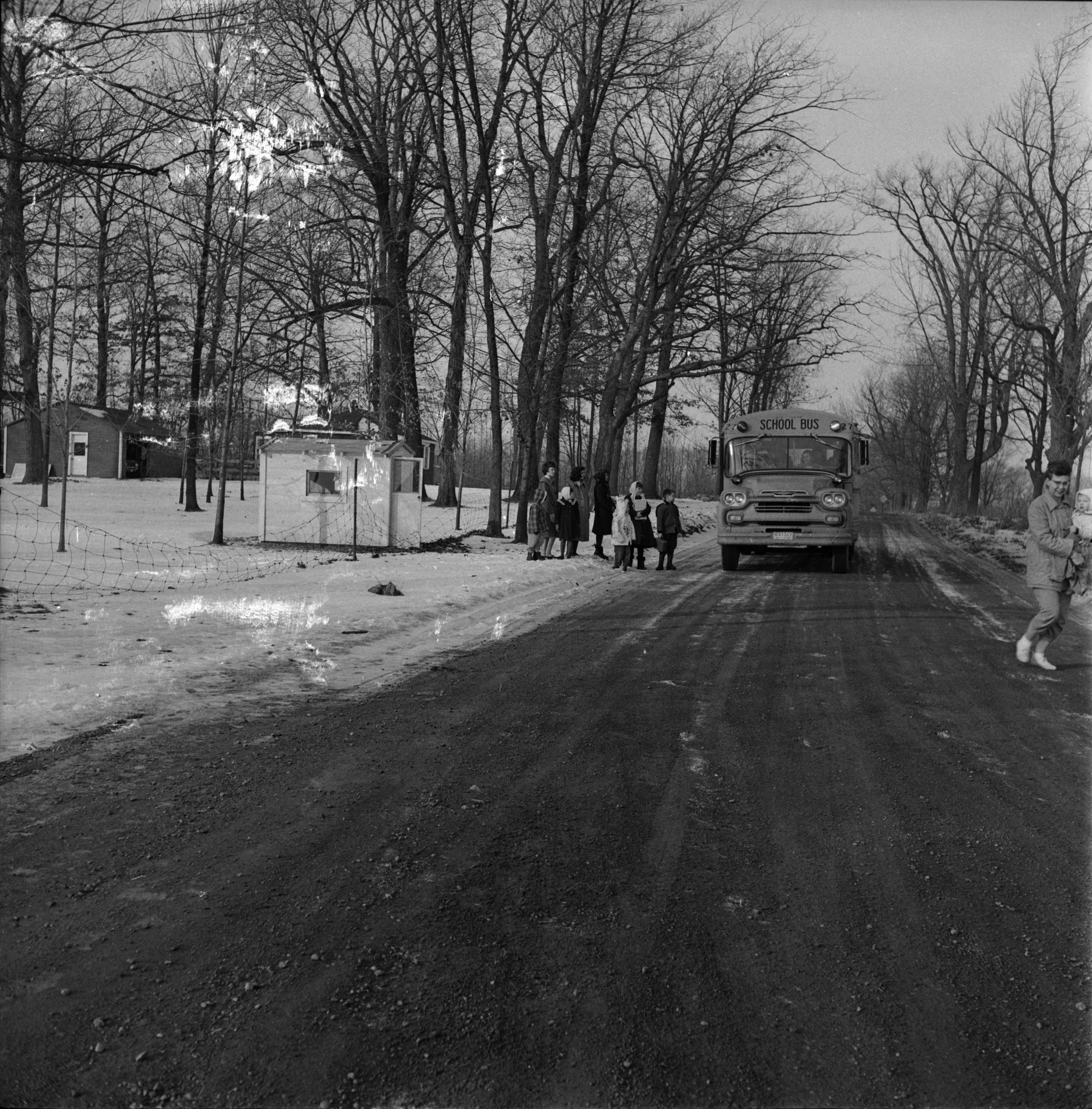 School Bus Waiting Shelter on Waters Road, January 1963 image