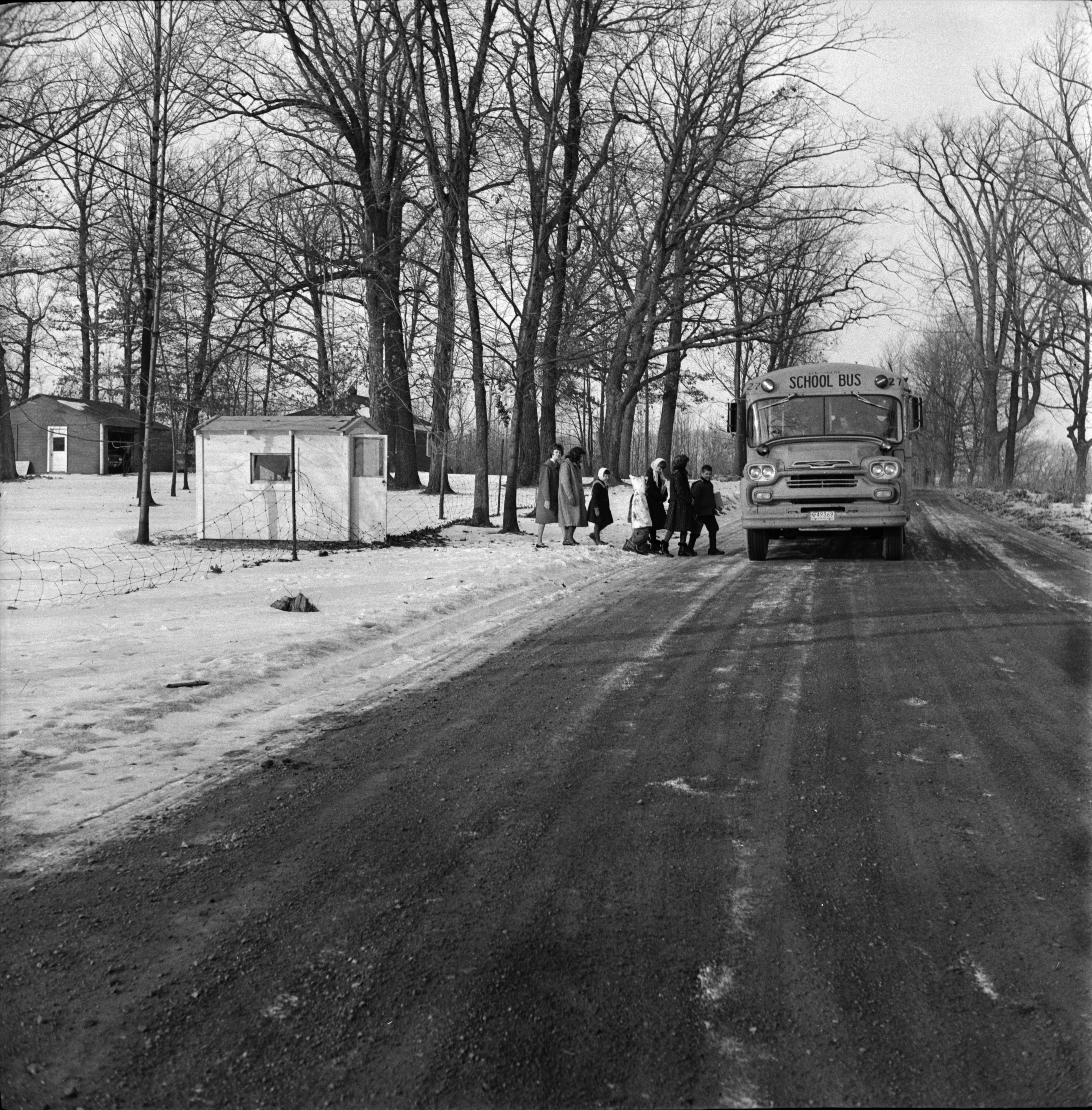 Children Board Bus on Waters Road, January 1963 image