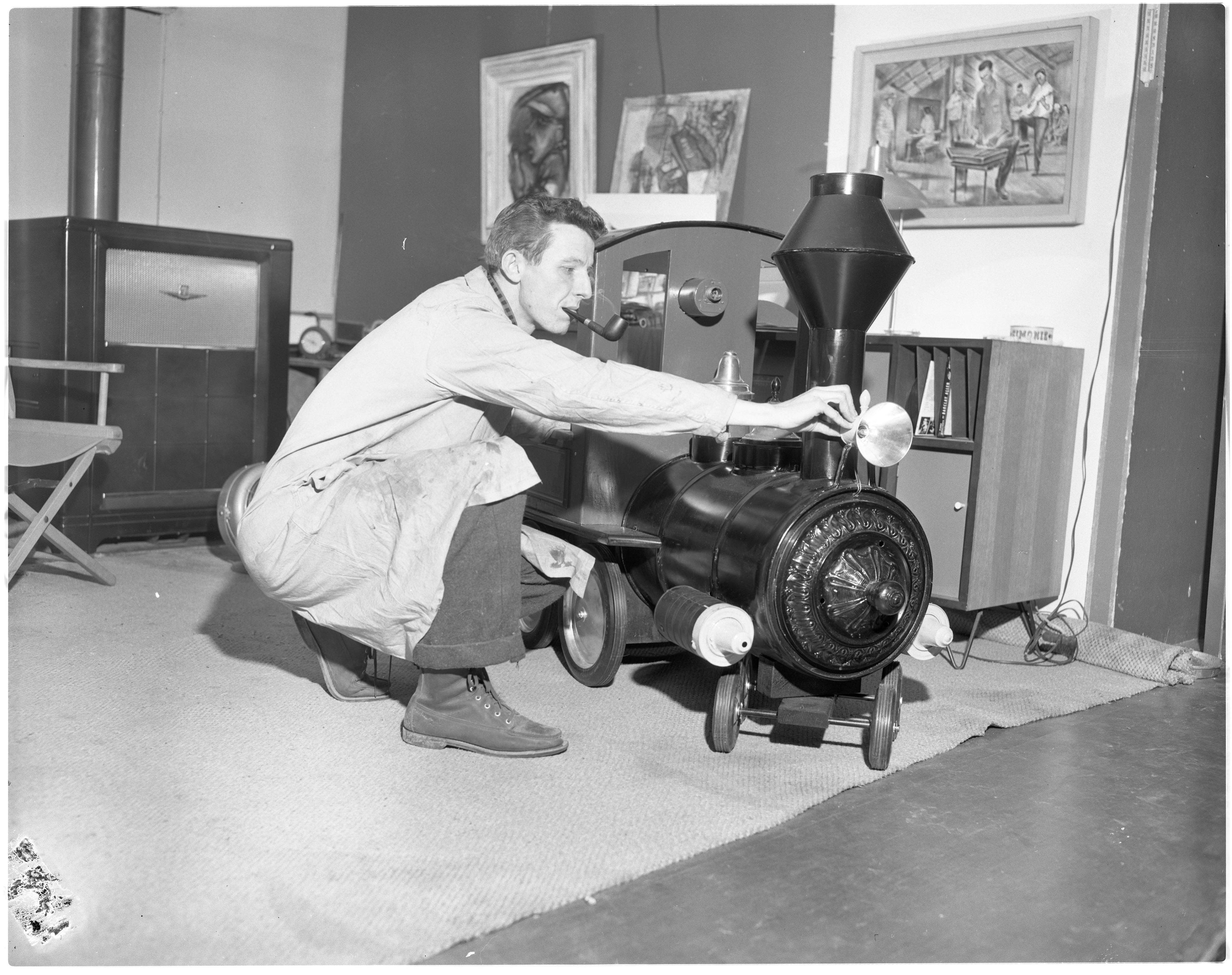 C. William Moss With His Handmade Locomotive, December 1955 image