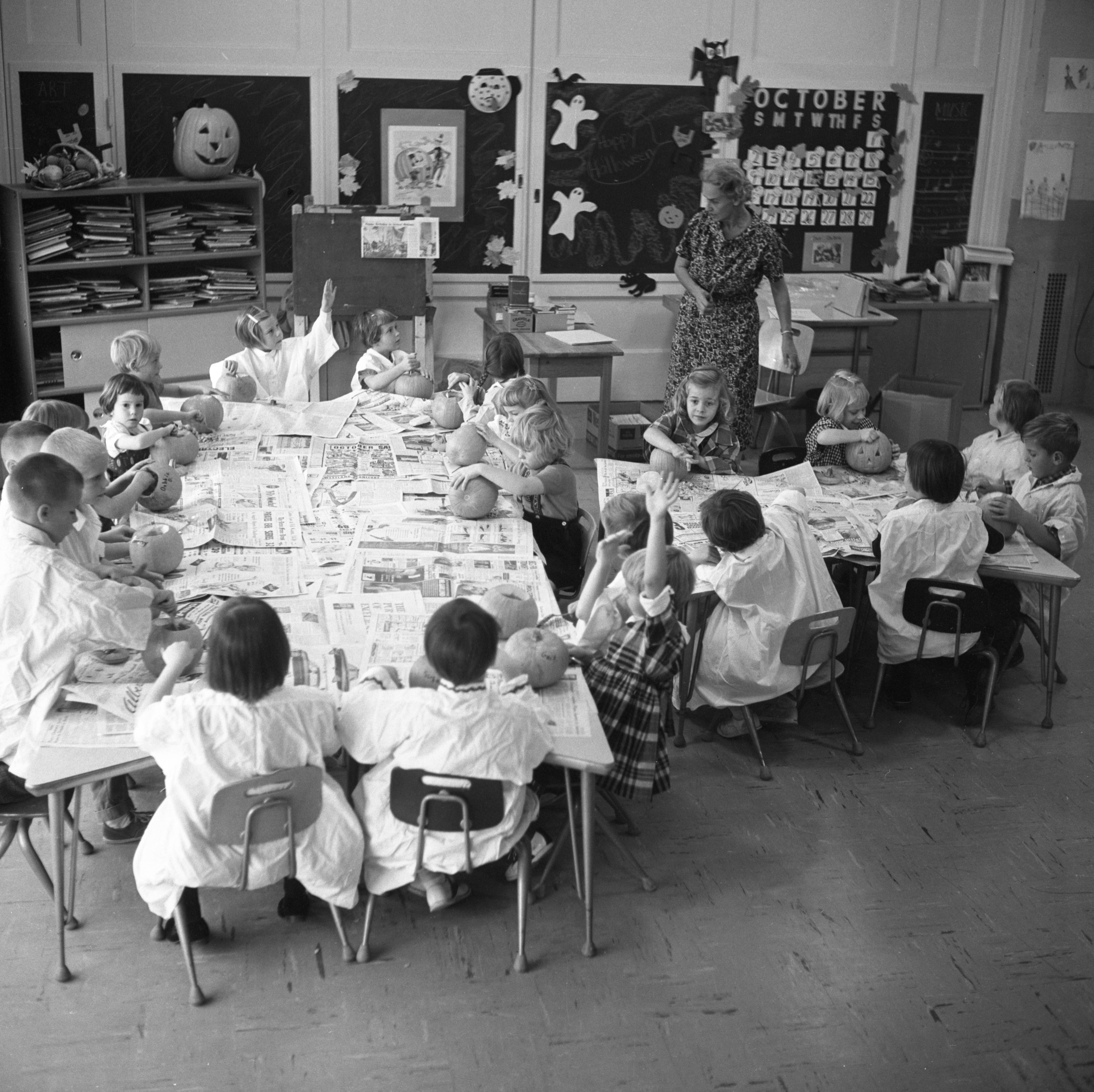 Pittsfield School Children Prepare Halloween Pumpkins, October 1960 image