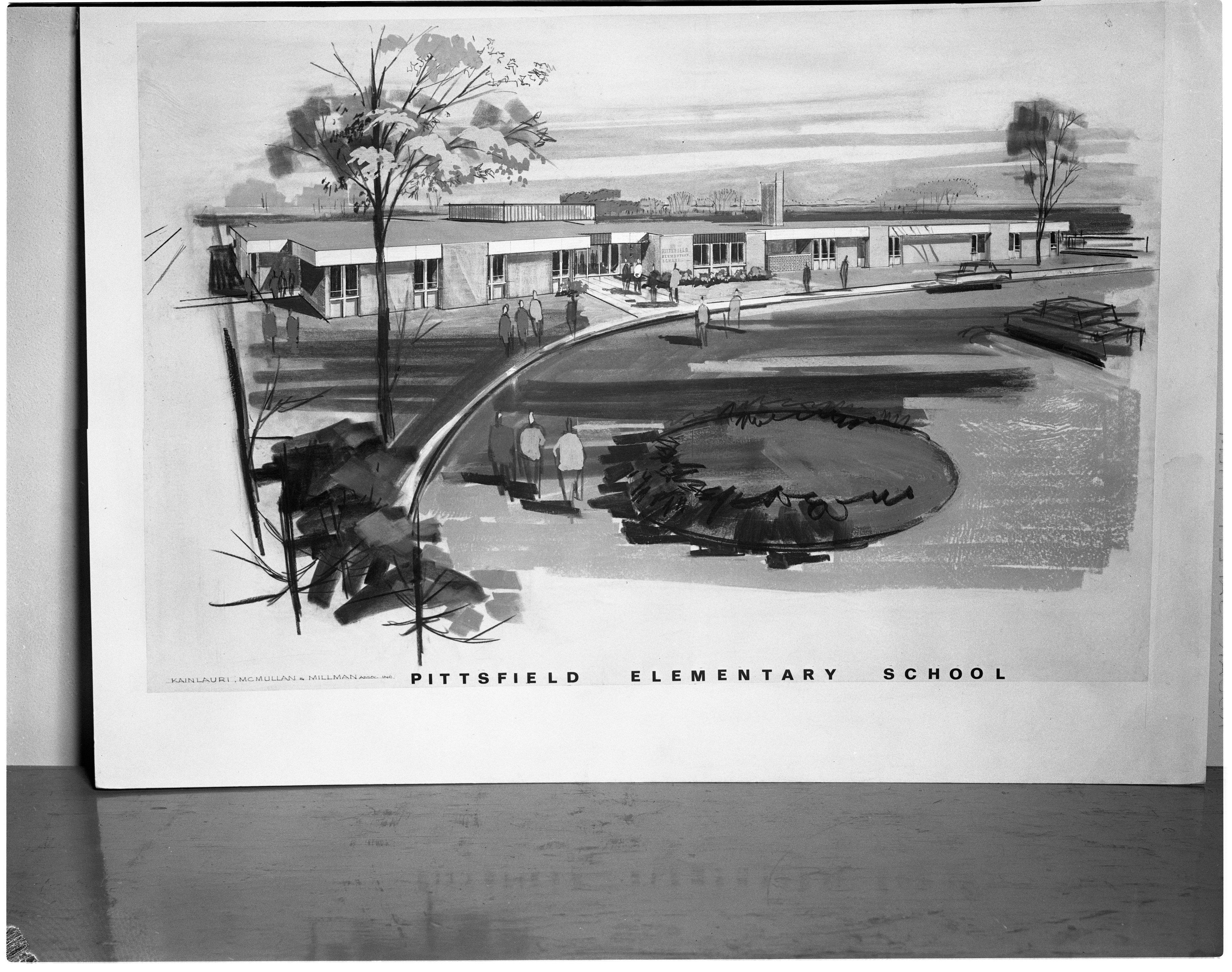 Architects' Drawing of Pittsfield Elementary Expansion, October 1964 image