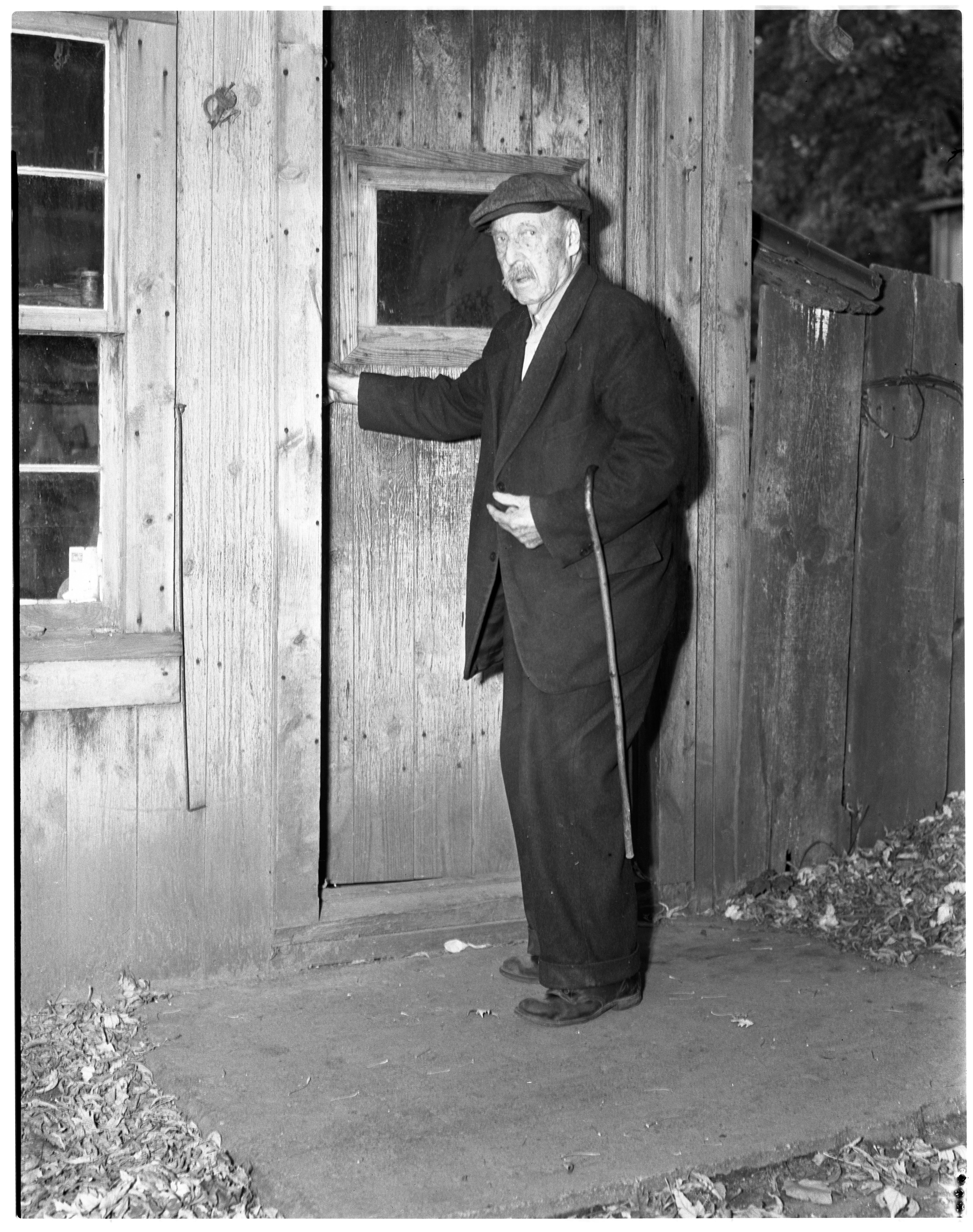 Alfred Daniels, Saline's oldest resident, at Saline Veterinary, Oldest Resident, 1937 image