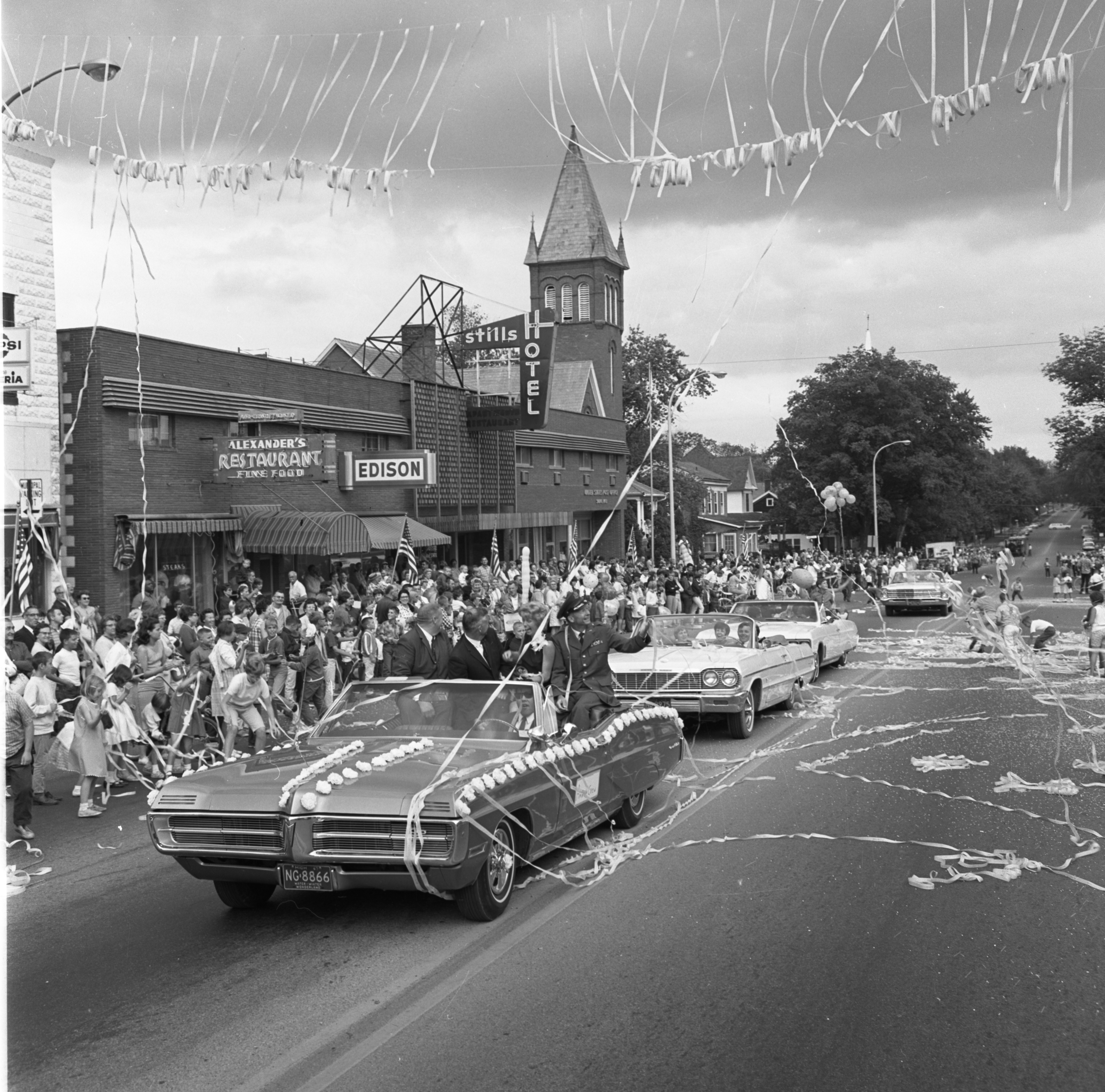 Saline Ticker-Tape Parade Honoring Aviator Ann Pellegreno's Amelia Earhart Commemorative Flight, July 1967 image