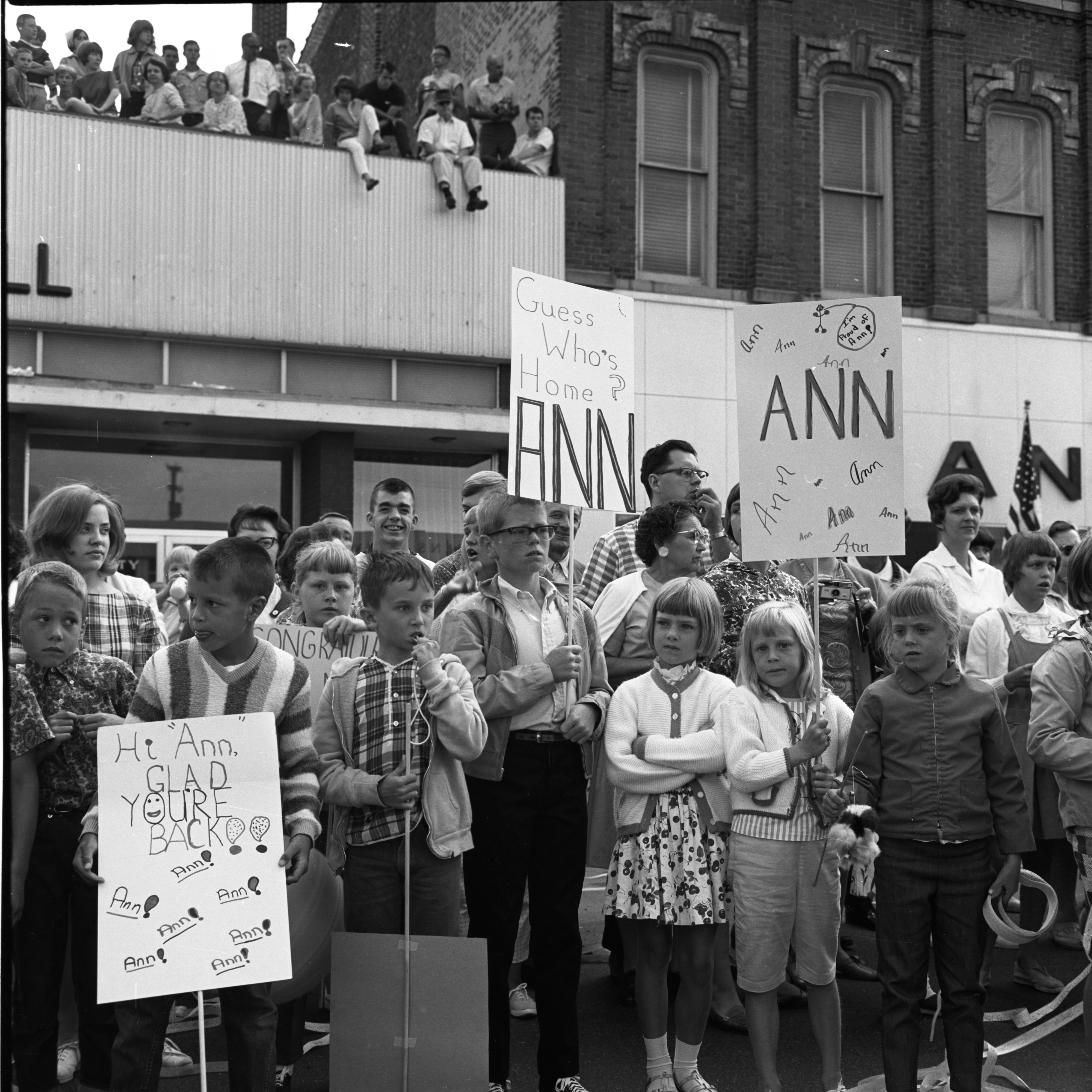 Hand-Made Signs at Saline Parade Honoring Aviator Ann Pellegreno's Amelia Earhart Commemorative Flight, July 1967 image