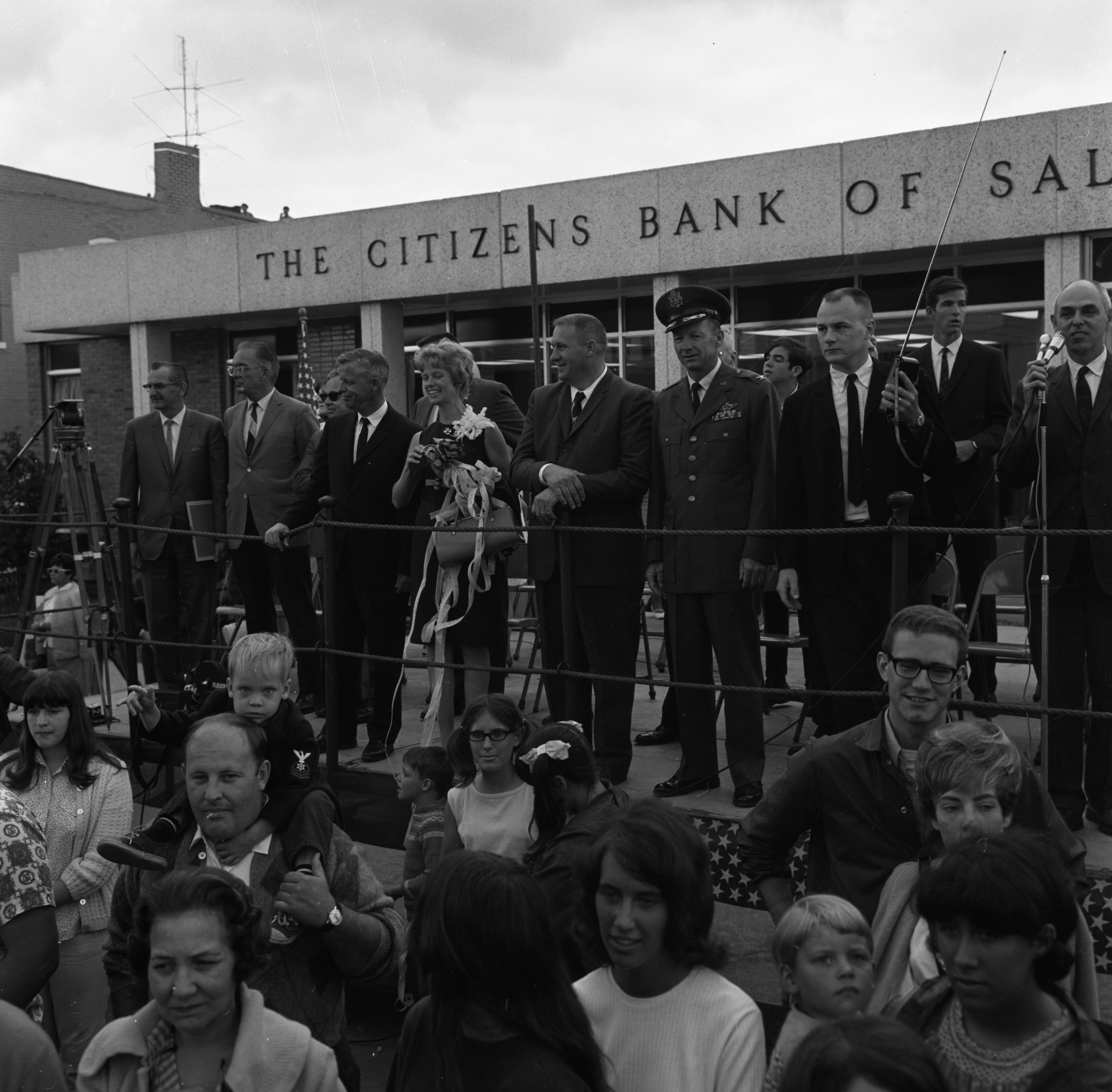 Reviewing Stand at Saline Parade Honoring Aviator Ann Pellegreno's Amelia Earhart Commemorative Flight, July 1967 image