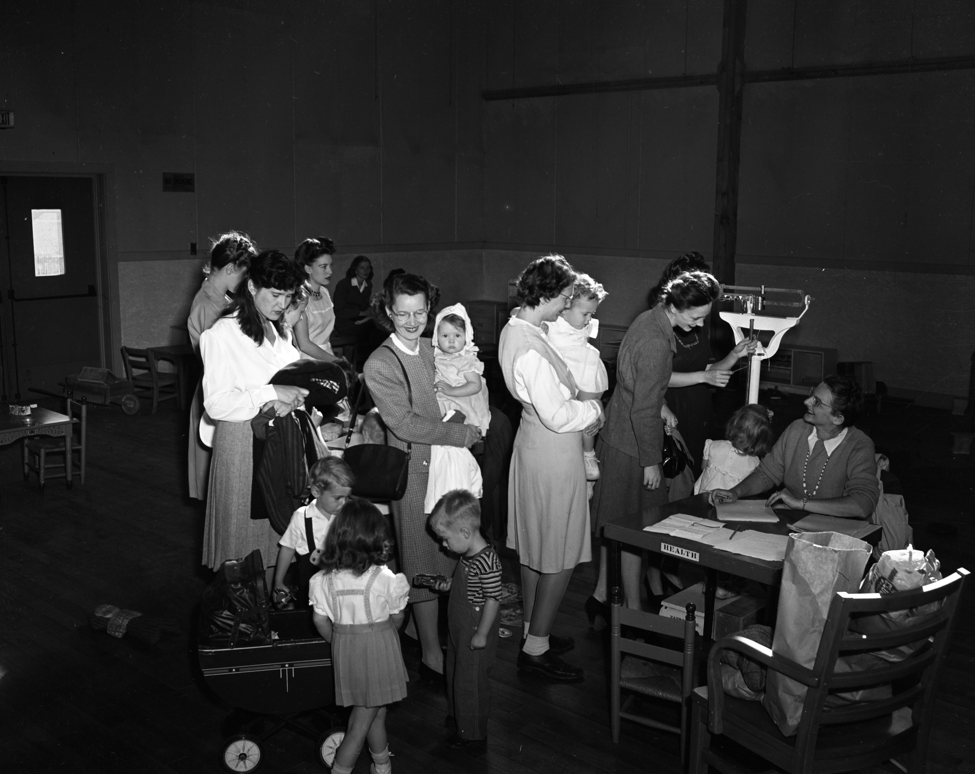 Registration day at the Co-operative nursery in Willow Village, September 1946 image