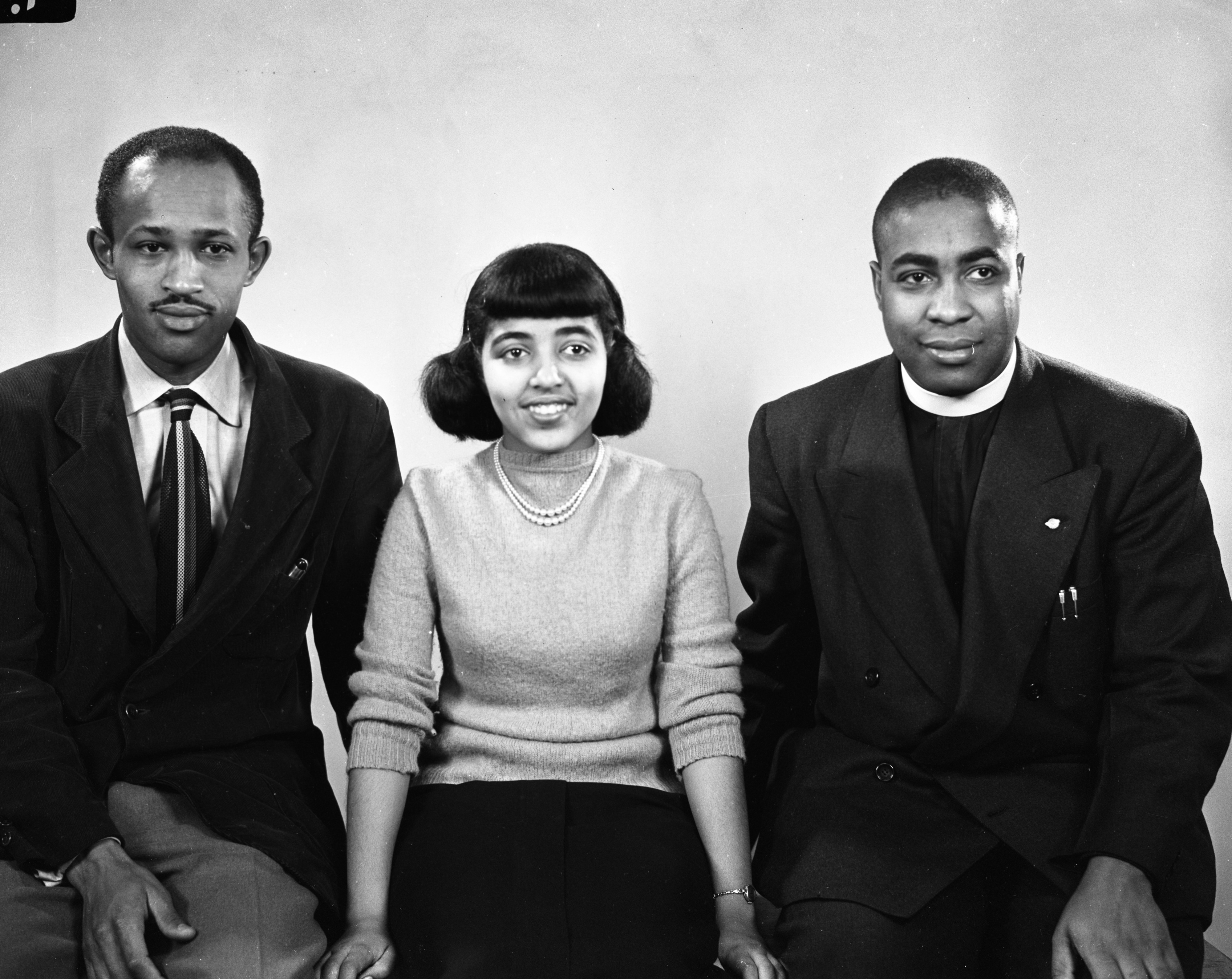 Shirley McIntyre, Rance Thomas and David A. Blake Jr., Youth Council Officers at Willow Run, April 1949 image