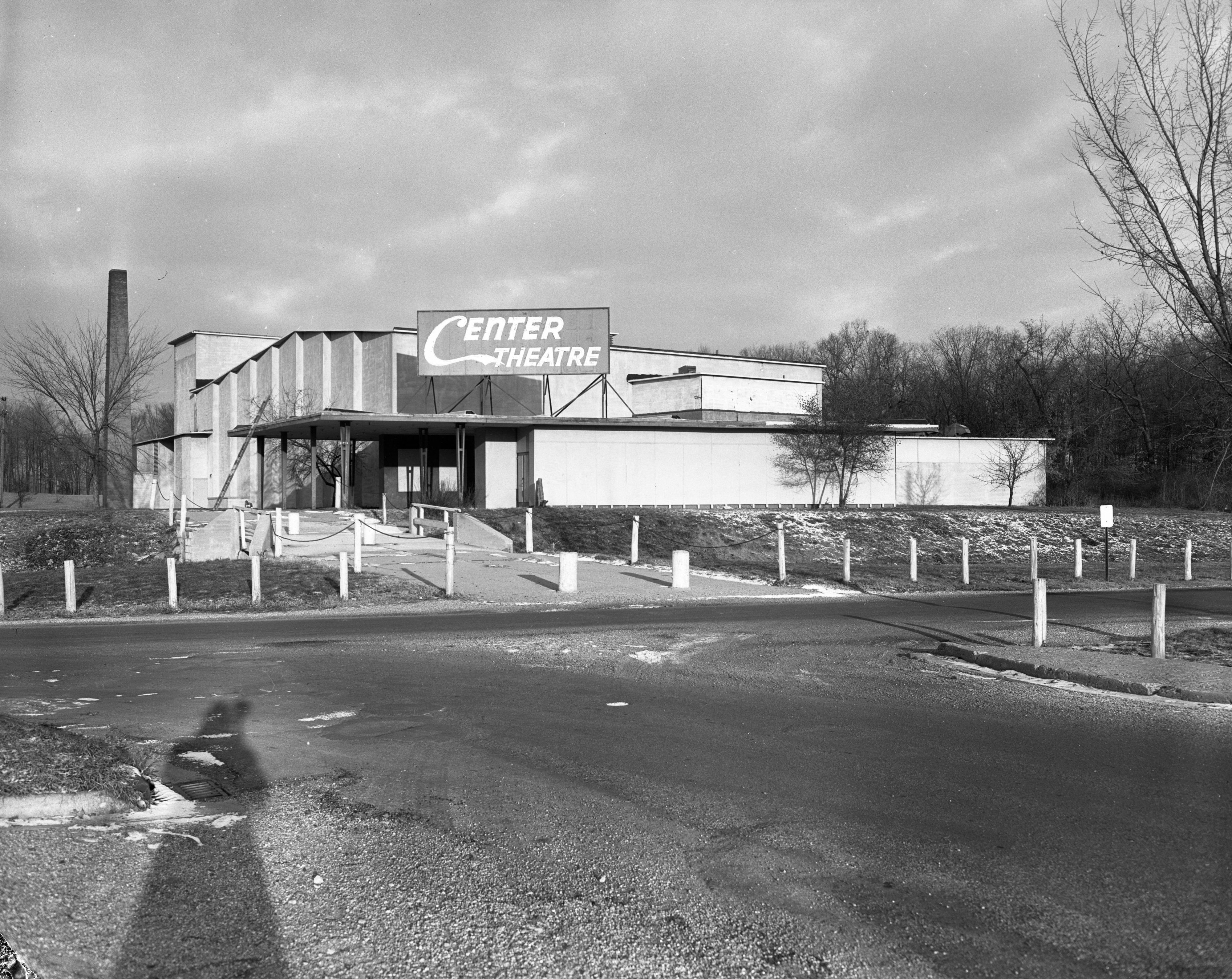 "Willow Village Theater, a landmark of the wartime ""Bomber City,"" to become church, December 1955 image"